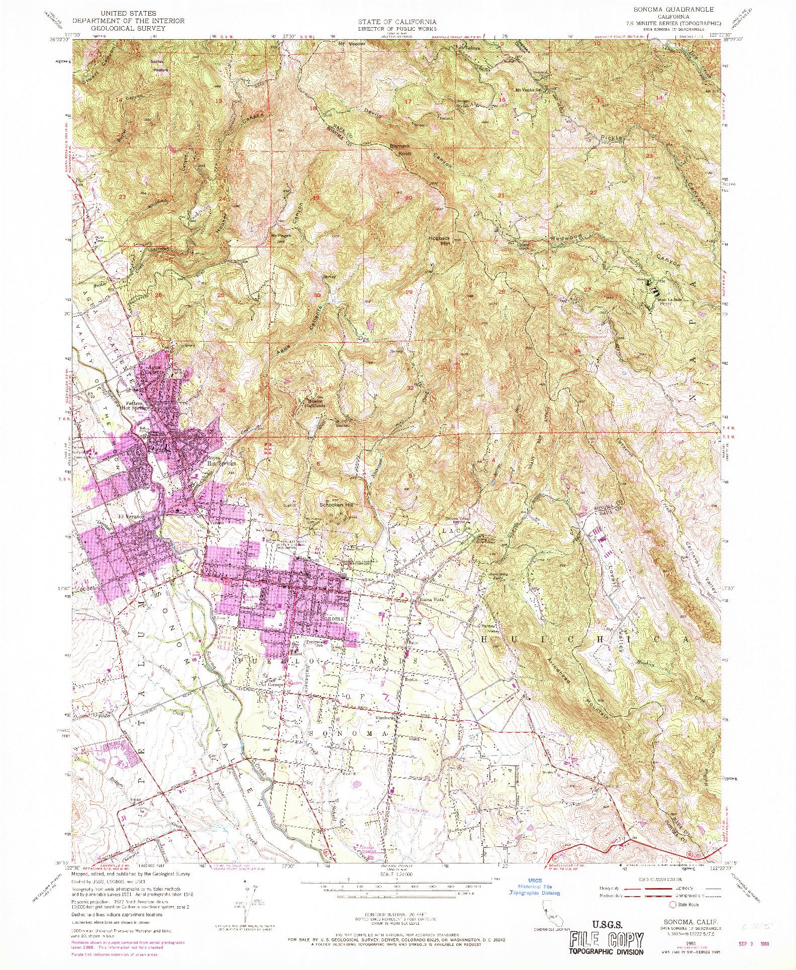 USGS 1:24000-SCALE QUADRANGLE FOR SONOMA, CA 1951