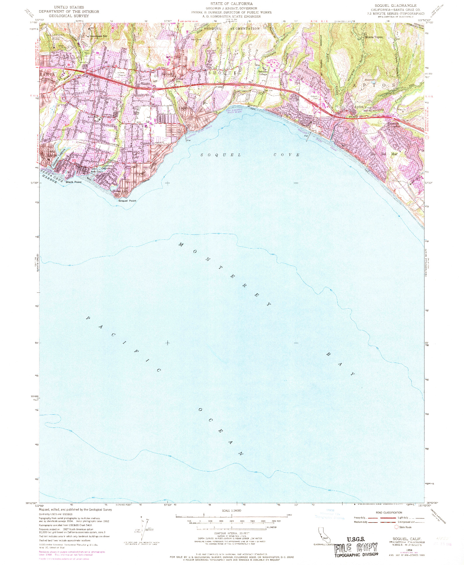 USGS 1:24000-SCALE QUADRANGLE FOR SOQUEL, CA 1954