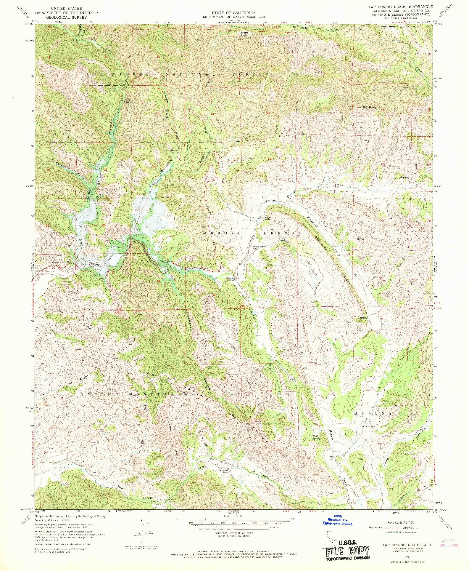 USGS 1:24000-SCALE QUADRANGLE FOR TAR SPRING RIDGE, CA 1967