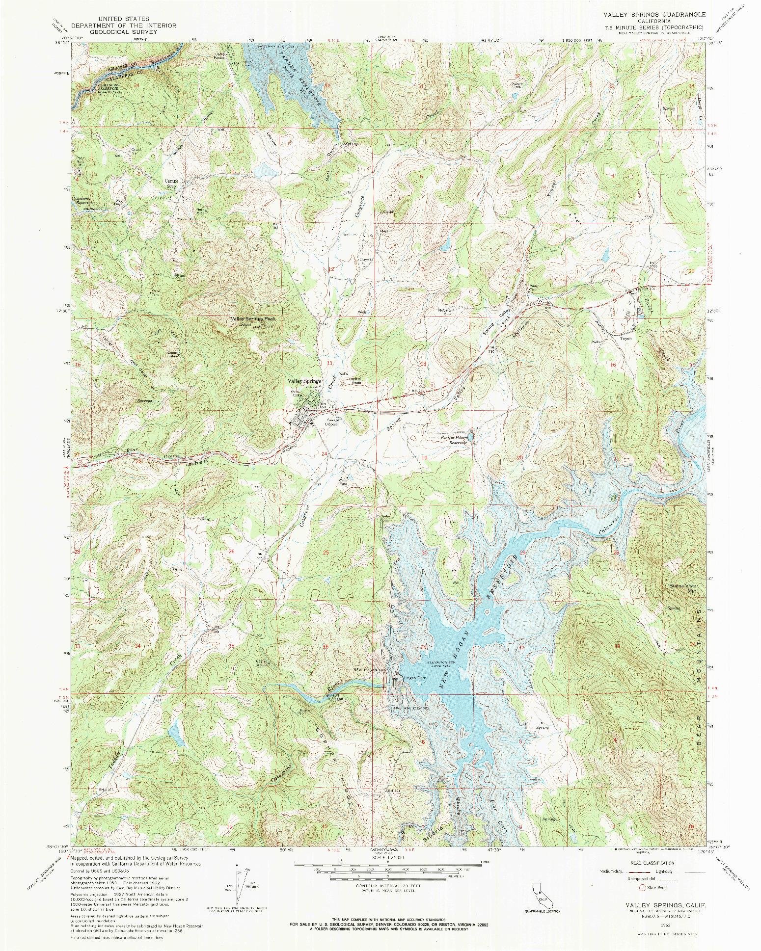 USGS 1:24000-SCALE QUADRANGLE FOR VALLEY SPRINGS, CA 1962