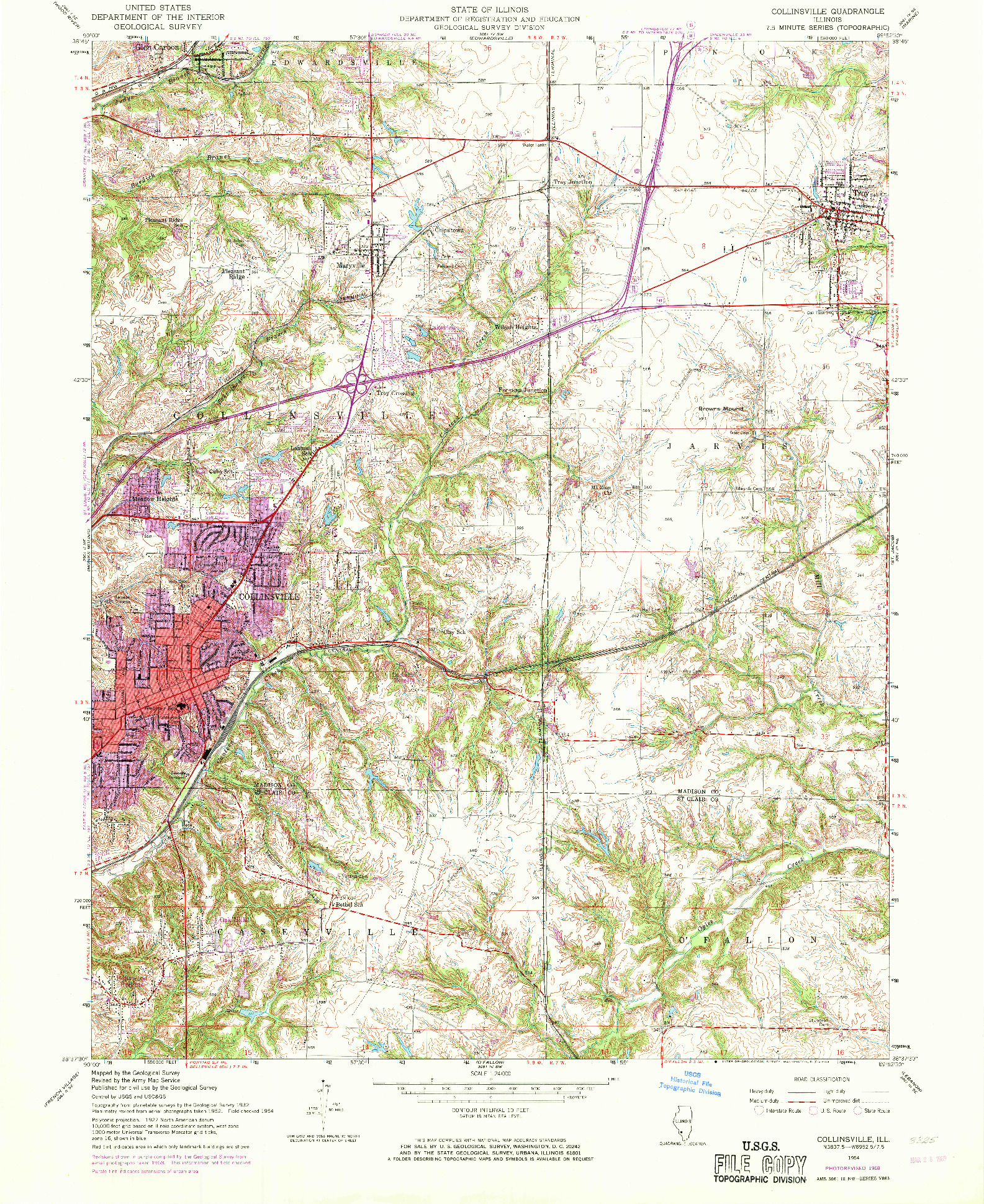 USGS 1:24000-SCALE QUADRANGLE FOR COLLINSVILLE, IL 1954