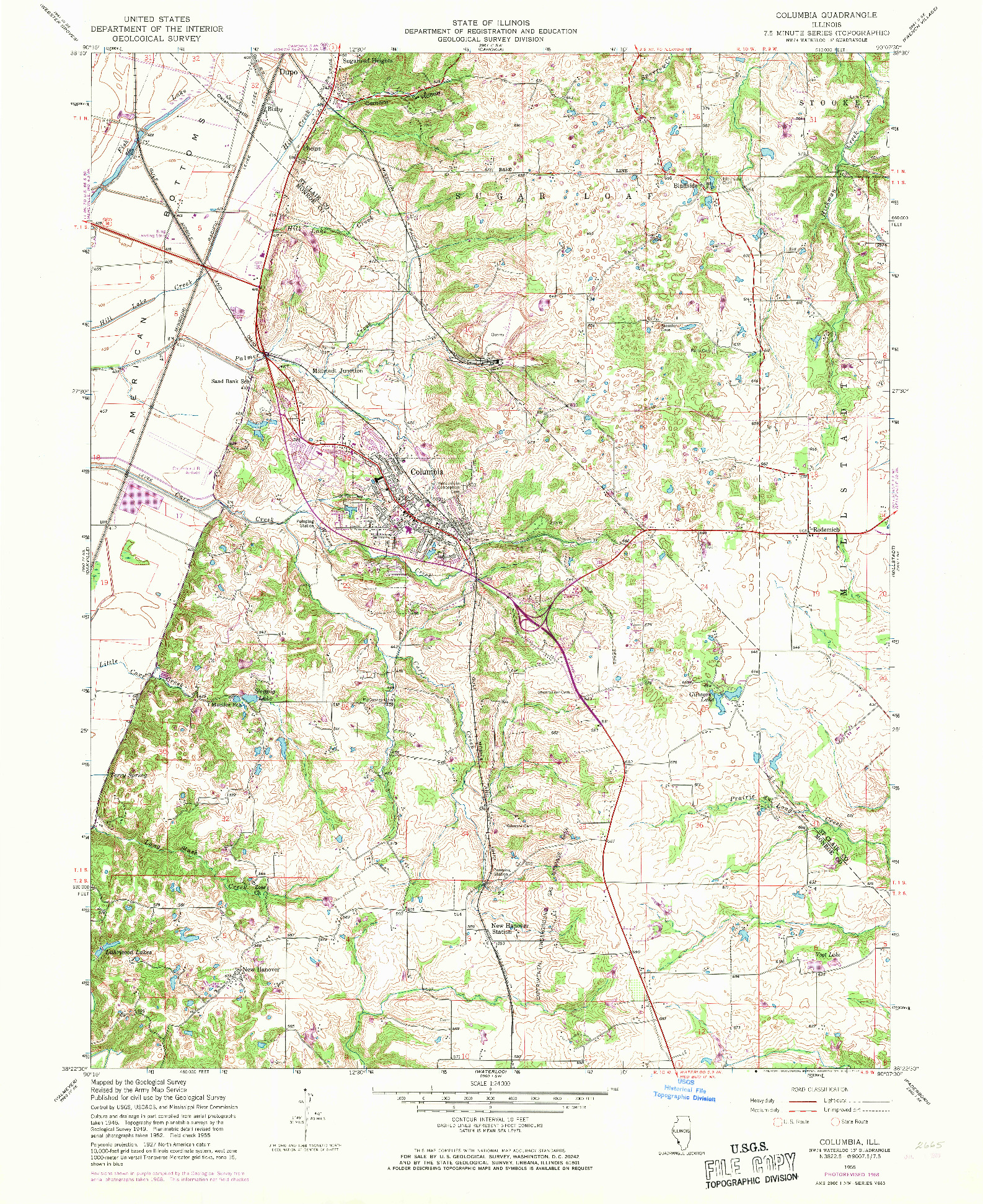 USGS 1:24000-SCALE QUADRANGLE FOR COLUMBIA, IL 1955