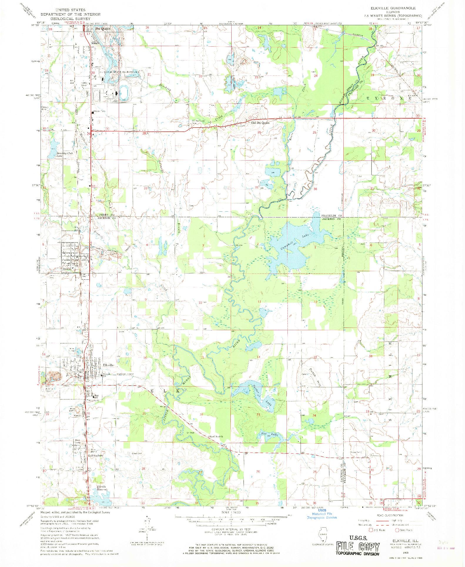 USGS 1:24000-SCALE QUADRANGLE FOR ELKVILLE, IL 1968