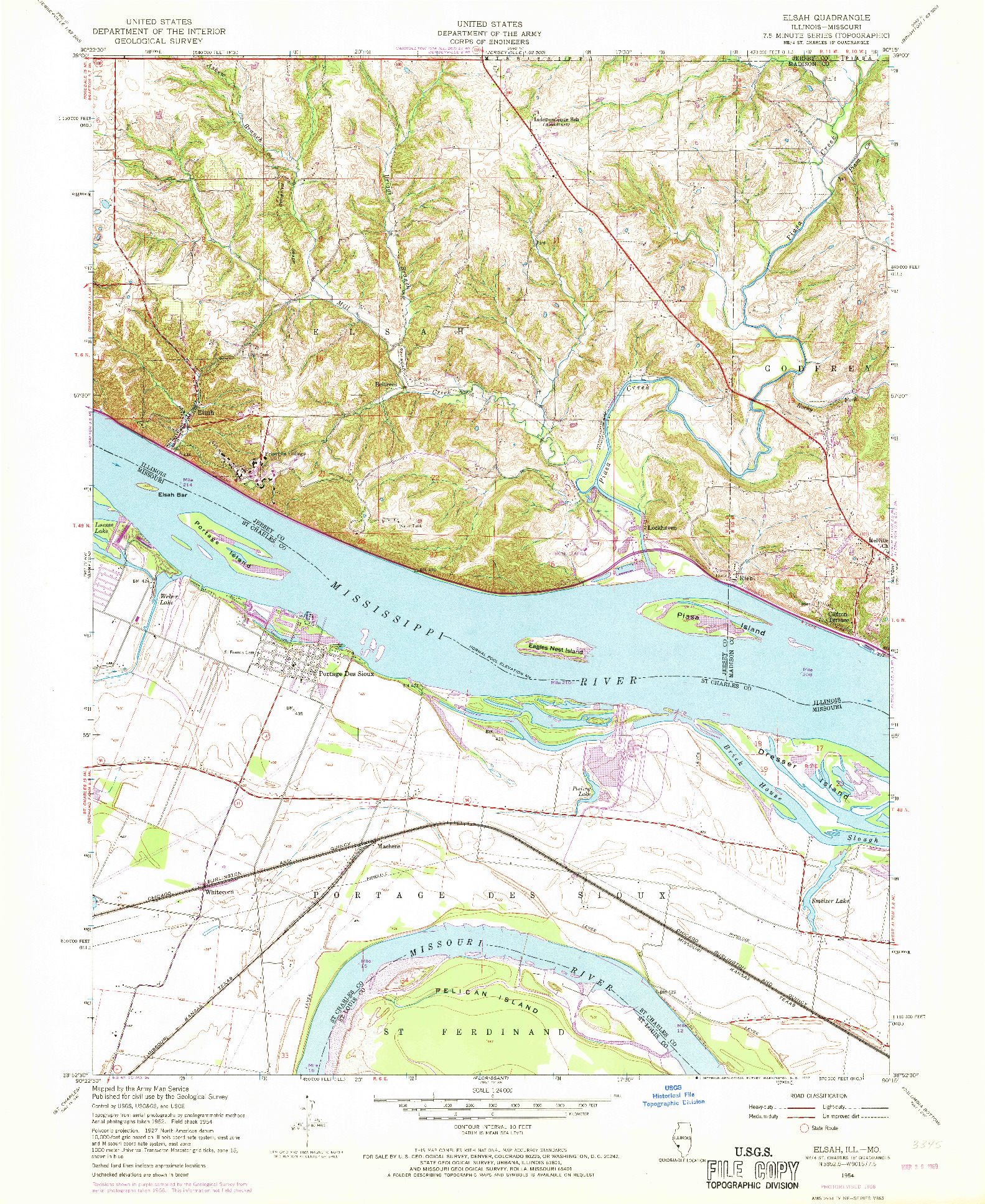 USGS 1:24000-SCALE QUADRANGLE FOR ELSAH, IL 1954