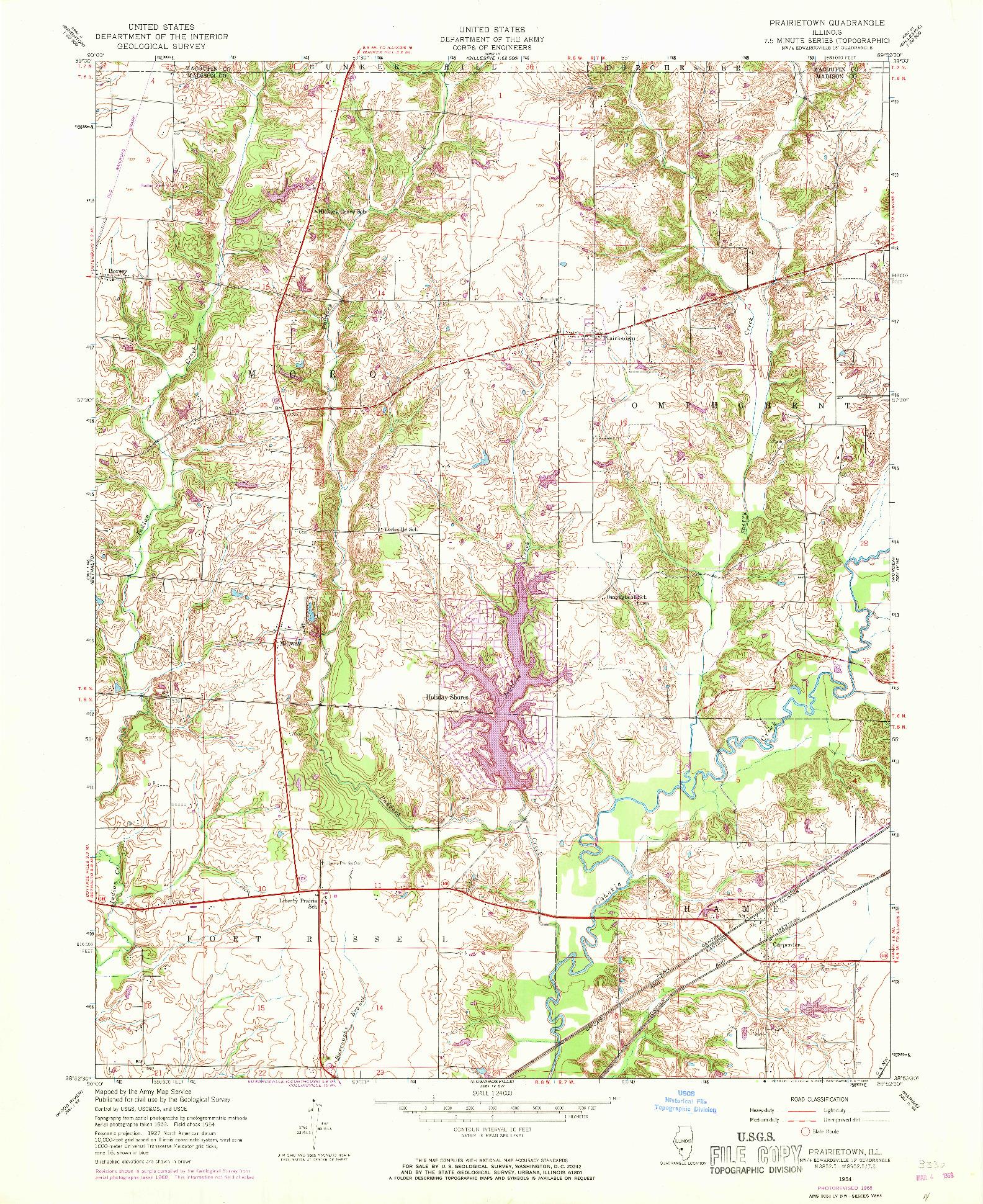 USGS 1:24000-SCALE QUADRANGLE FOR PRAIRIETOWN, IL 1954