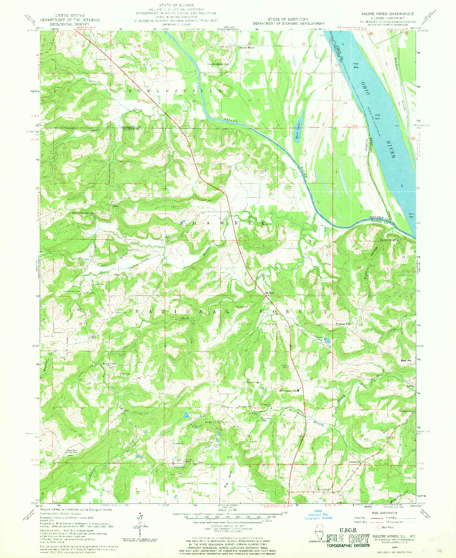 USGS 1:24000-SCALE QUADRANGLE FOR SALINE MINES, IL 1959