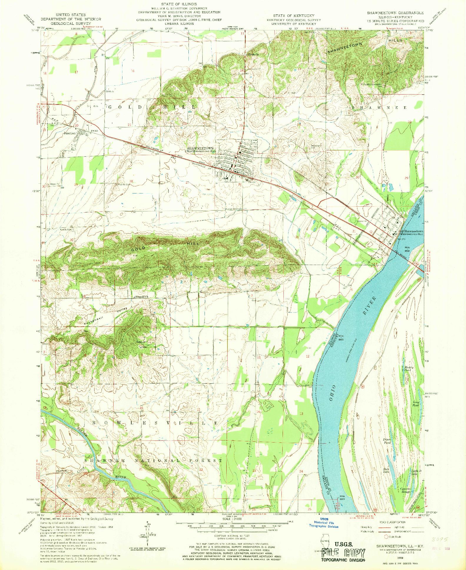 USGS 1:24000-SCALE QUADRANGLE FOR SHAWNEETOWN, IL 1959