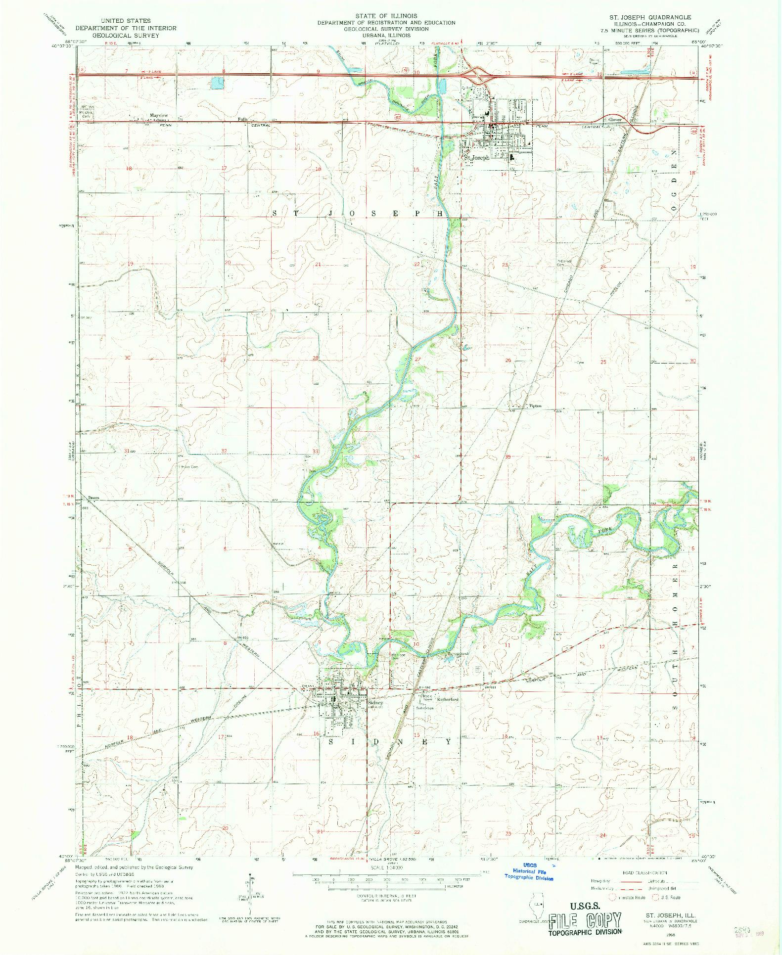 USGS 1:24000-SCALE QUADRANGLE FOR ST. JOSEPH, IL 1968