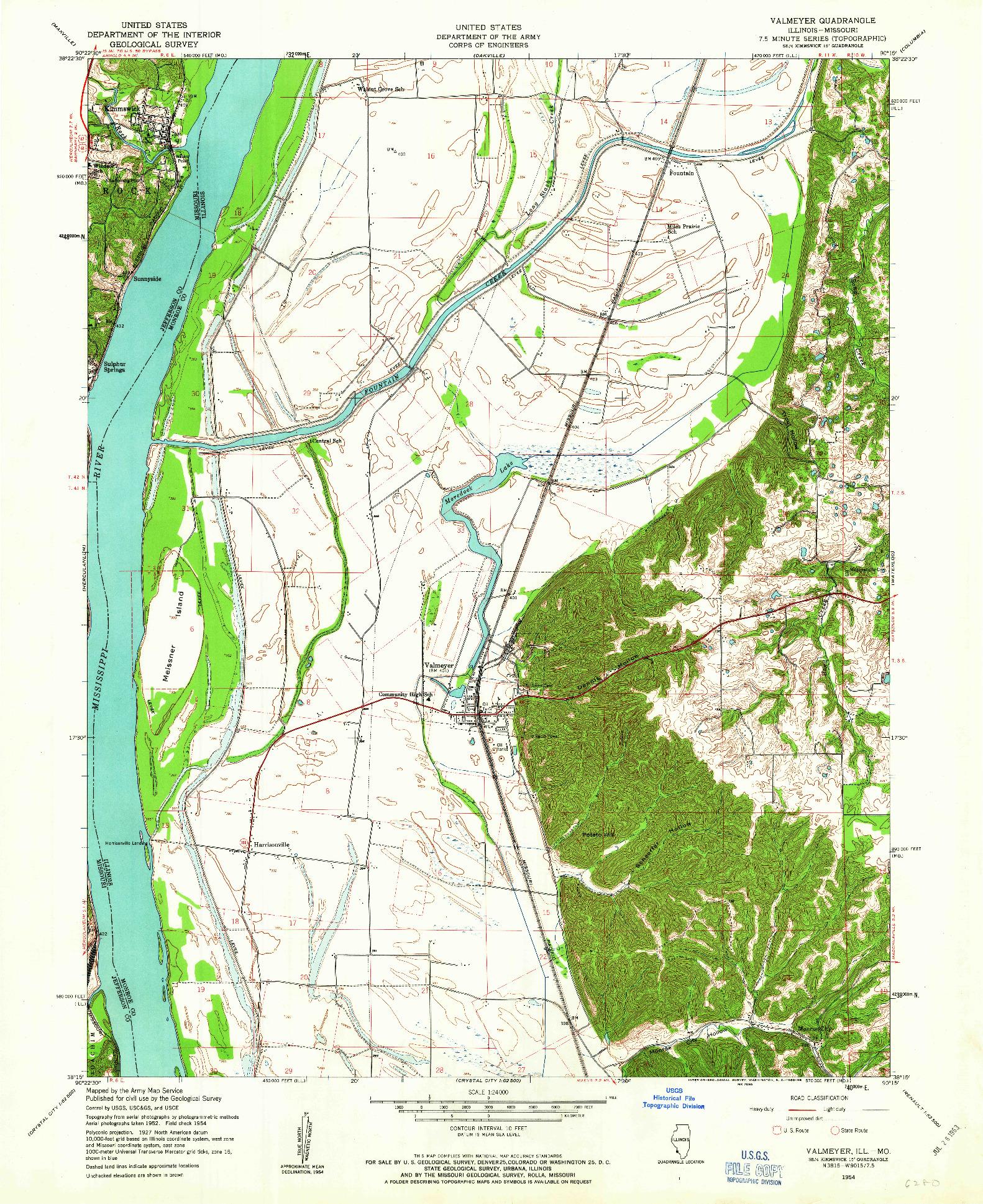 USGS 1:24000-SCALE QUADRANGLE FOR VALMEYER, IL 1954