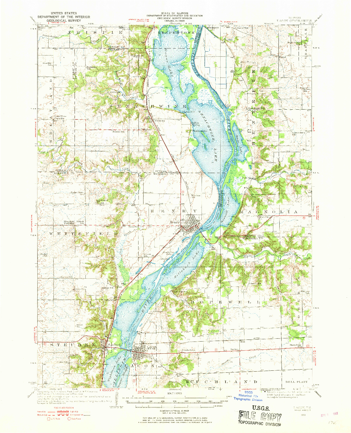 USGS 1:62500-SCALE QUADRANGLE FOR LACON, IL 1933