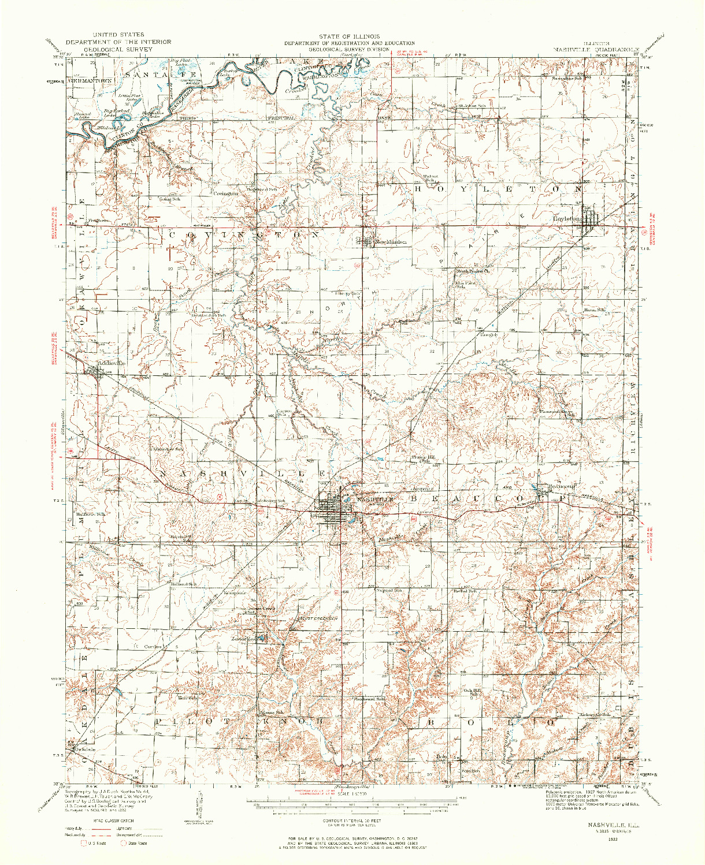 USGS 1:62500-SCALE QUADRANGLE FOR NASHVILLE, IL 1932