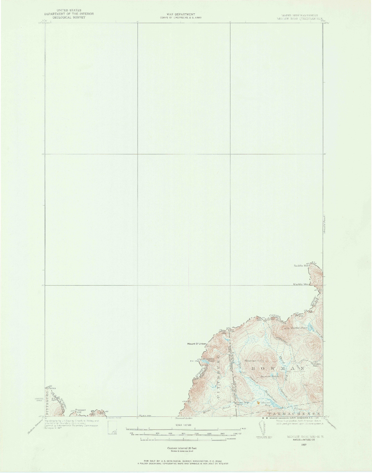 USGS 1:62500-SCALE QUADRANGLE FOR MOOSE BOG, ME 1927
