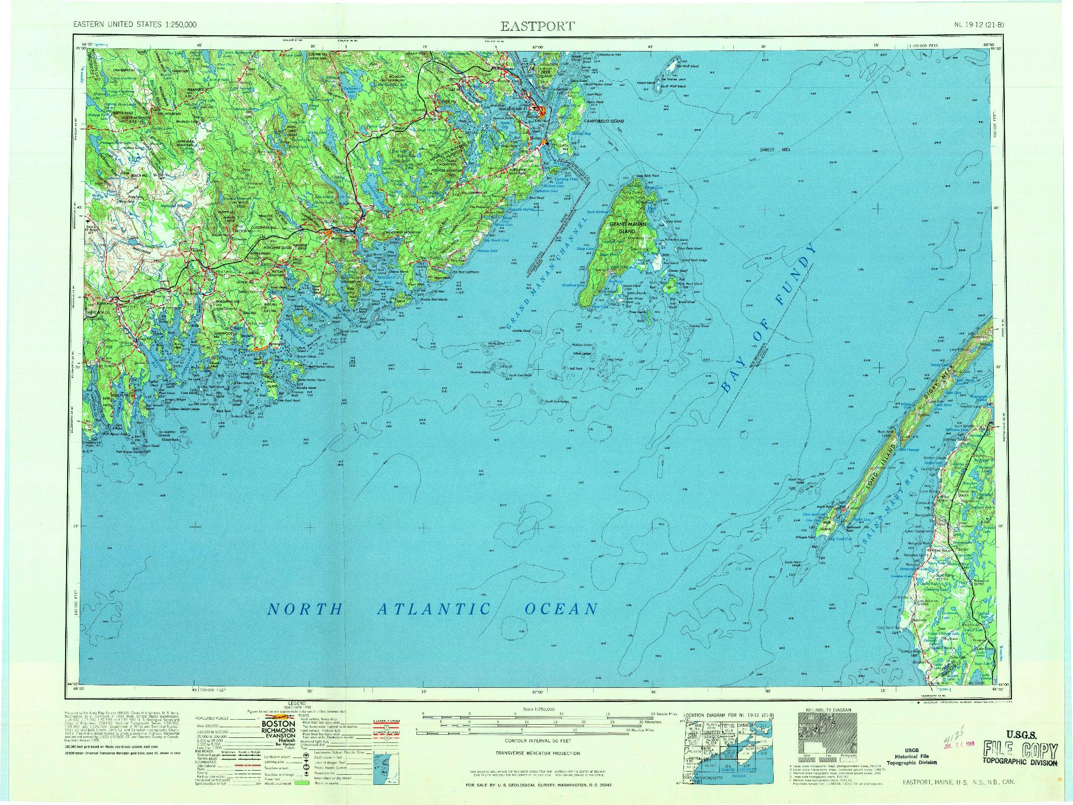 USGS 1:250000-SCALE QUADRANGLE FOR EASTPORT, ME 1969