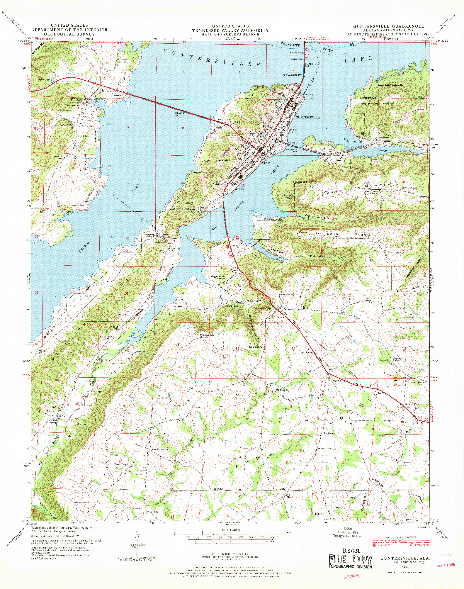 USGS 1:24000-SCALE QUADRANGLE FOR GUNTERSVILLE, AL 1948