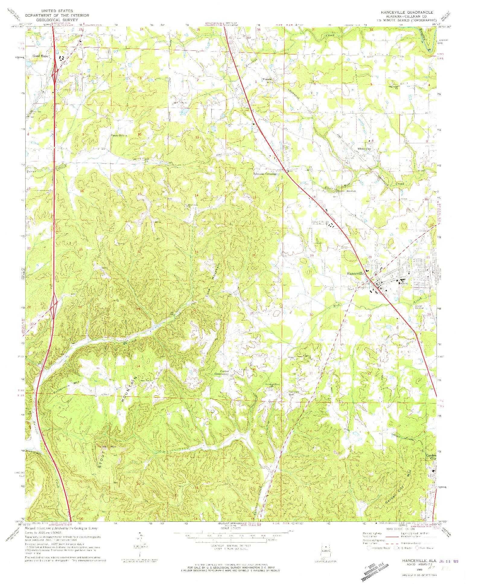USGS 1:24000-SCALE QUADRANGLE FOR HANCEVILLE, AL 1969