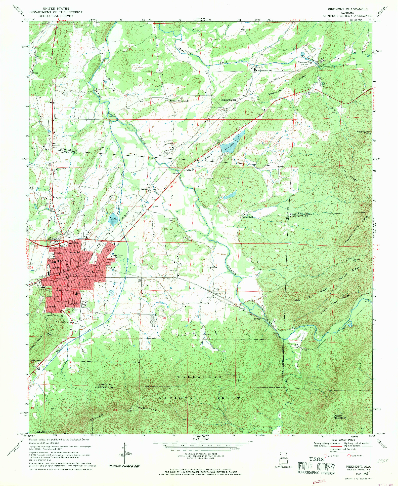 USGS 1:24000-SCALE QUADRANGLE FOR PIEDMONT, AL 1967
