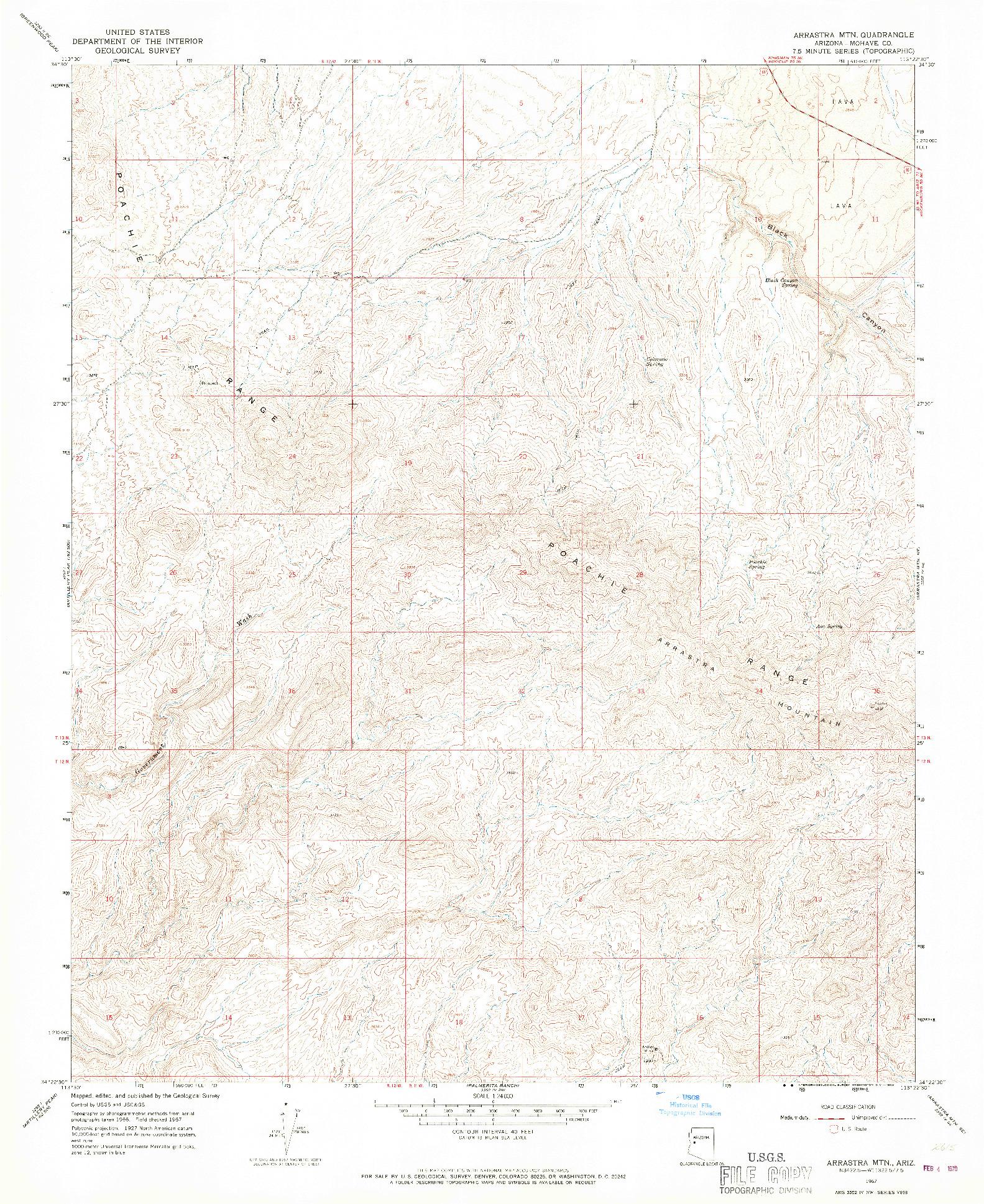 USGS 1:24000-SCALE QUADRANGLE FOR ARRASTRA MTN, AZ 1967