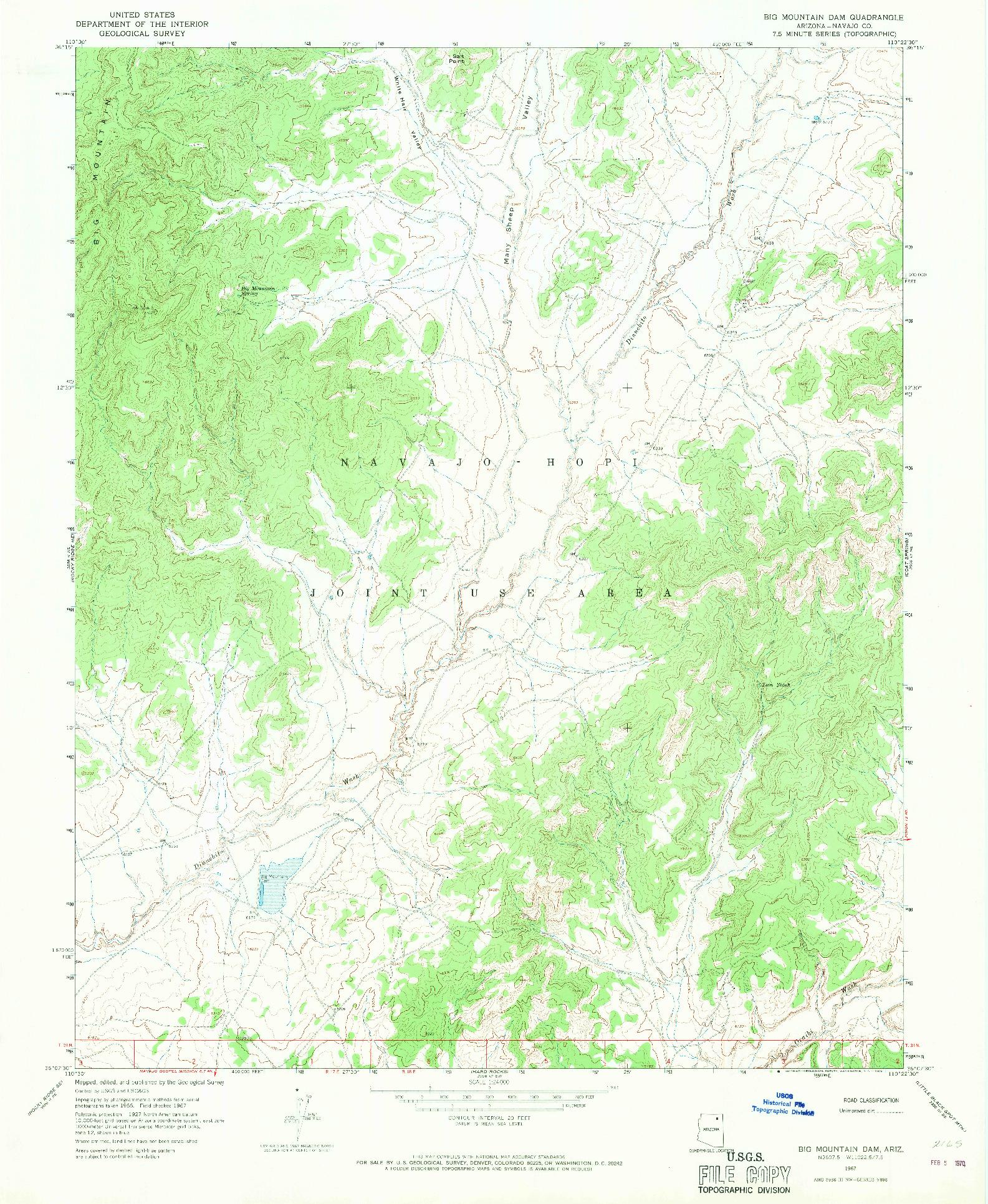 USGS 1:24000-SCALE QUADRANGLE FOR BIG MOUNTAIN DAM, AZ 1967