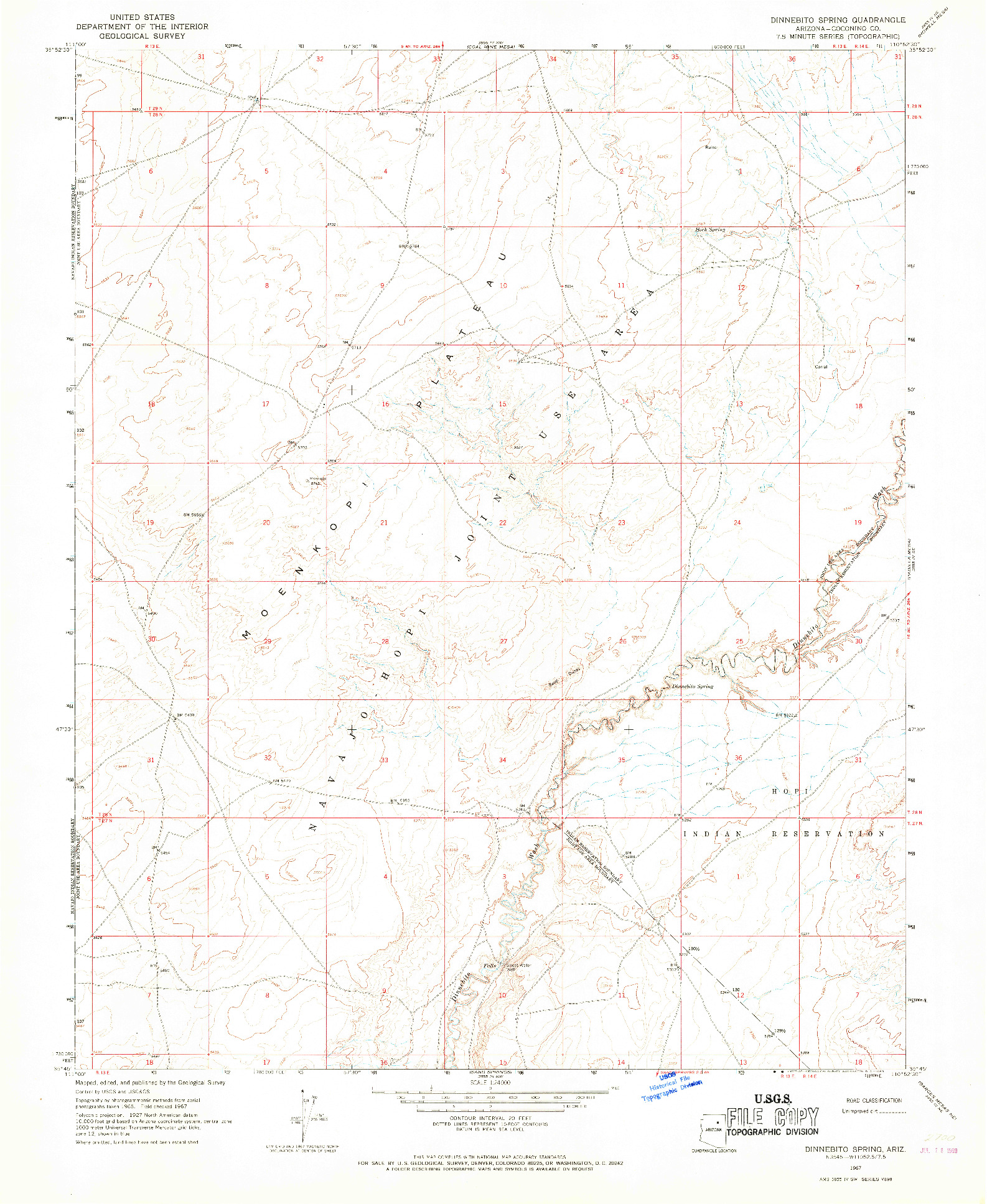 USGS 1:24000-SCALE QUADRANGLE FOR DINNEBITO SPRING, AZ 1967