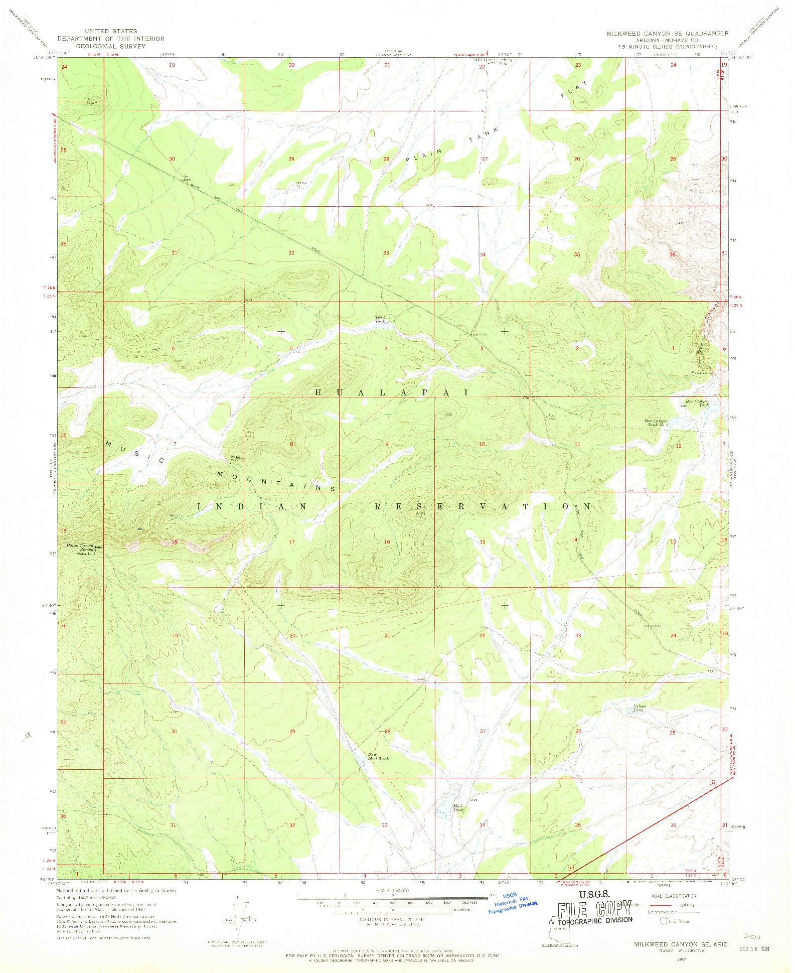USGS 1:24000-SCALE QUADRANGLE FOR MILKWEED CANYON SE, AZ 1967