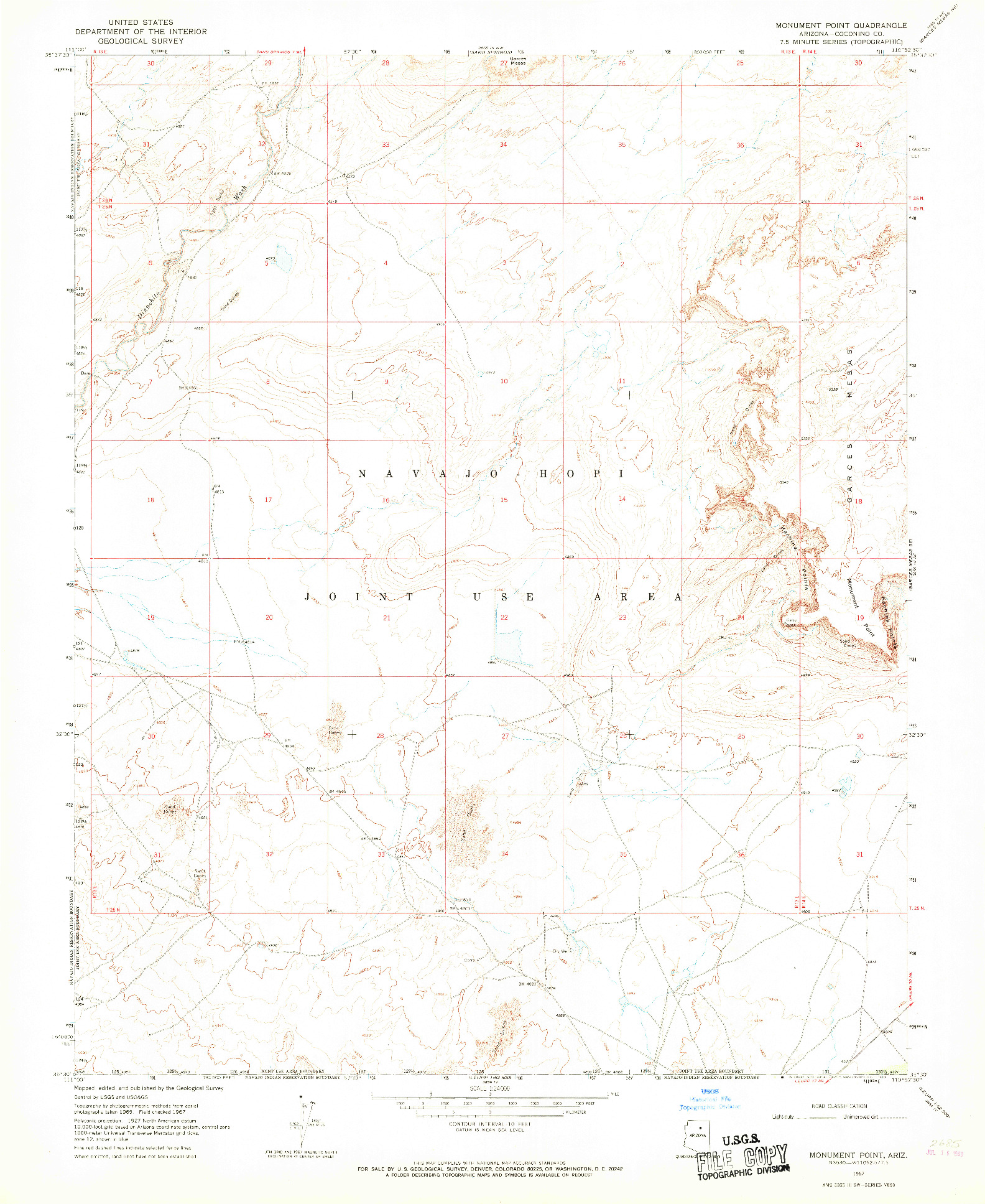 USGS 1:24000-SCALE QUADRANGLE FOR MONUMENT POINT, AZ 1967