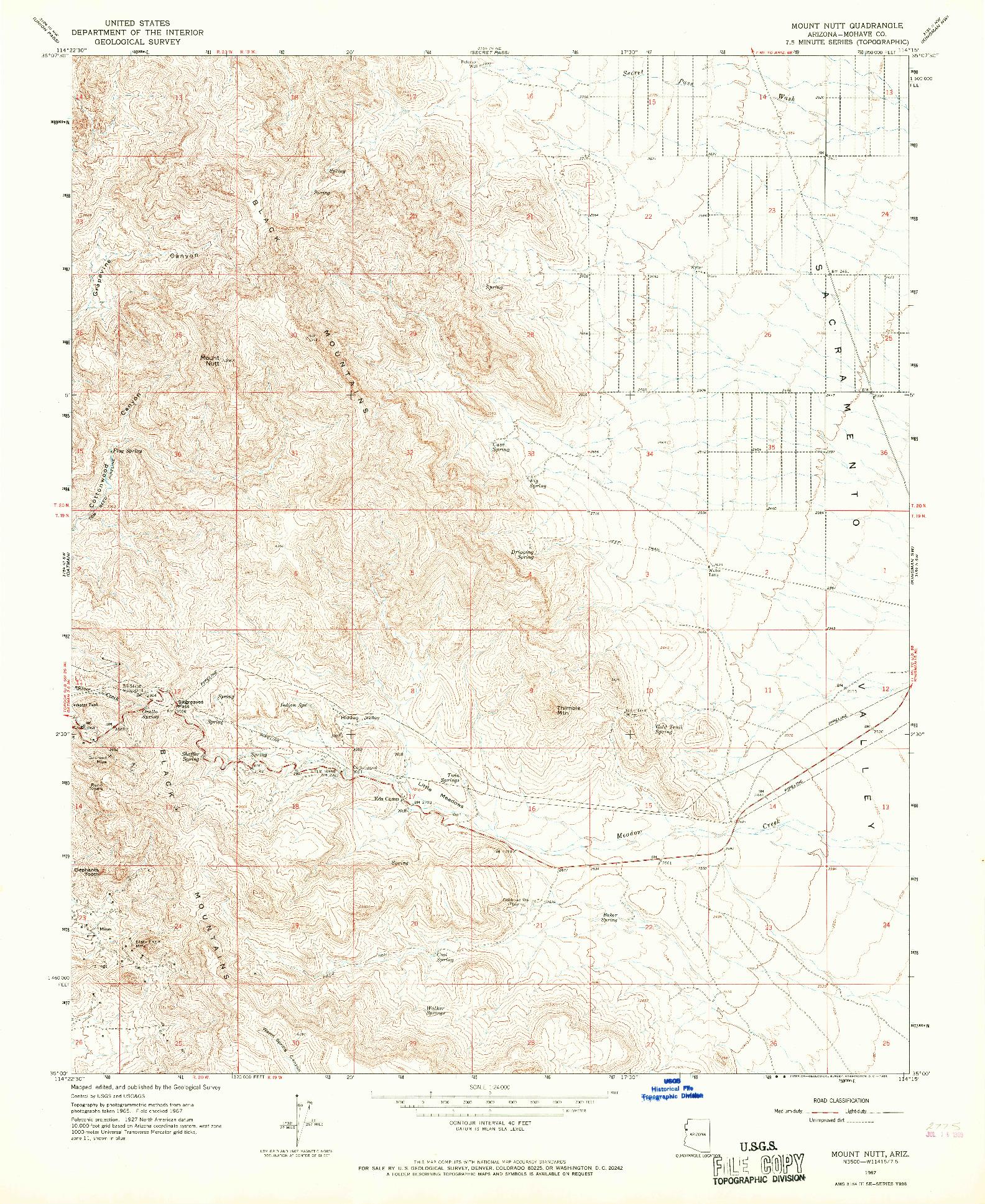 USGS 1:24000-SCALE QUADRANGLE FOR MOUNT NUTT, AZ 1967