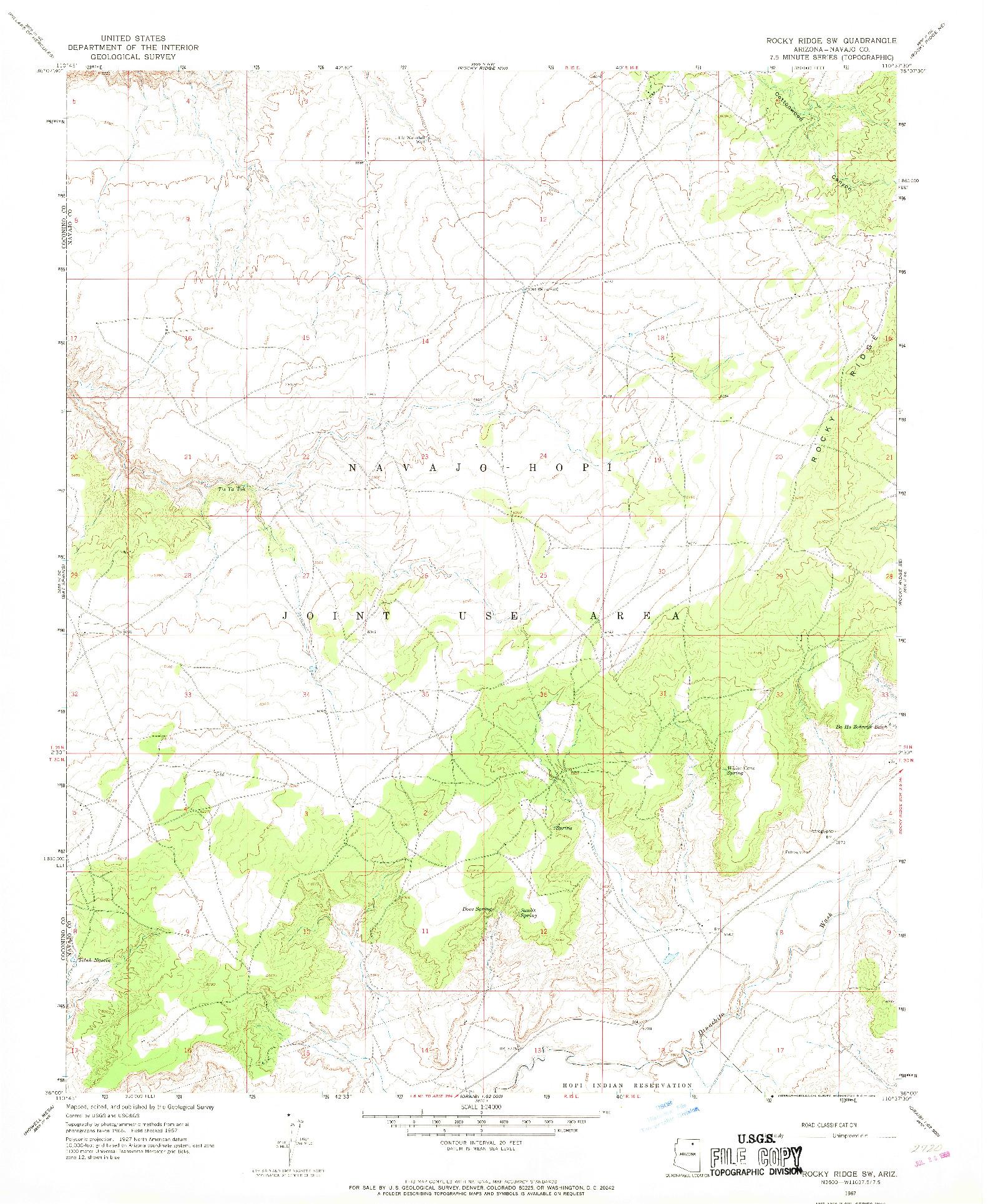 USGS 1:24000-SCALE QUADRANGLE FOR ROCKY RIDGE SW, AZ 1967