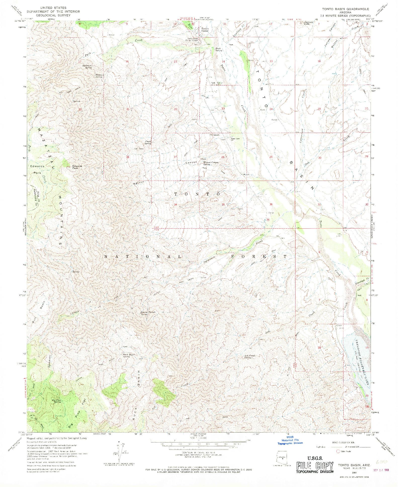 USGS 1:24000-SCALE QUADRANGLE FOR TONTO BASIN, AZ 1964