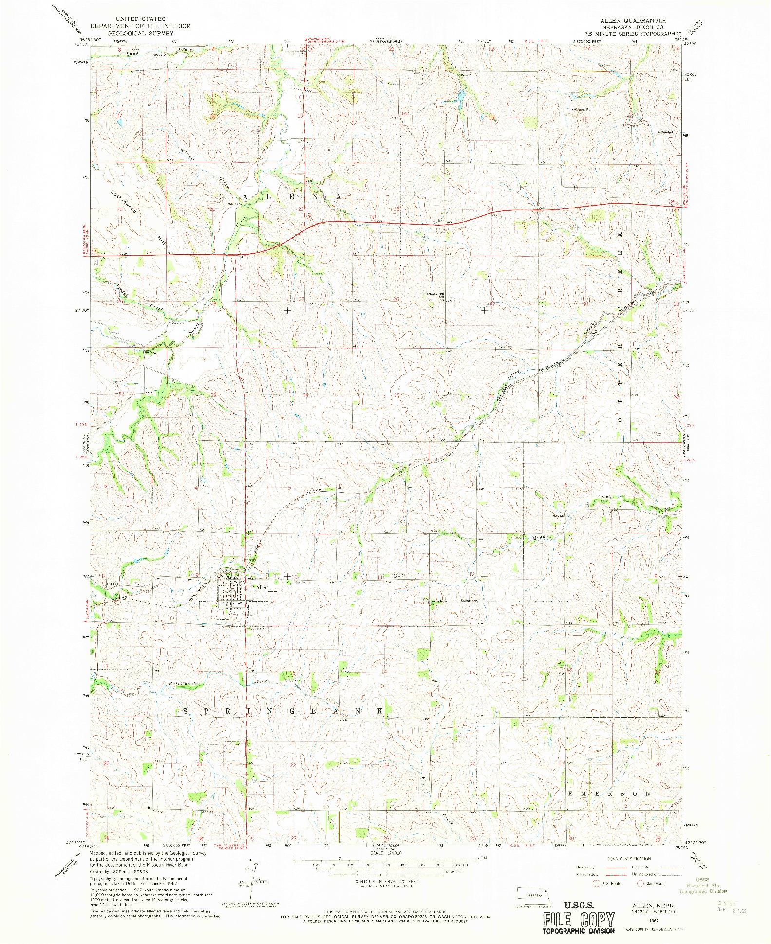 USGS 1:24000-SCALE QUADRANGLE FOR ALLEN, NE 1967