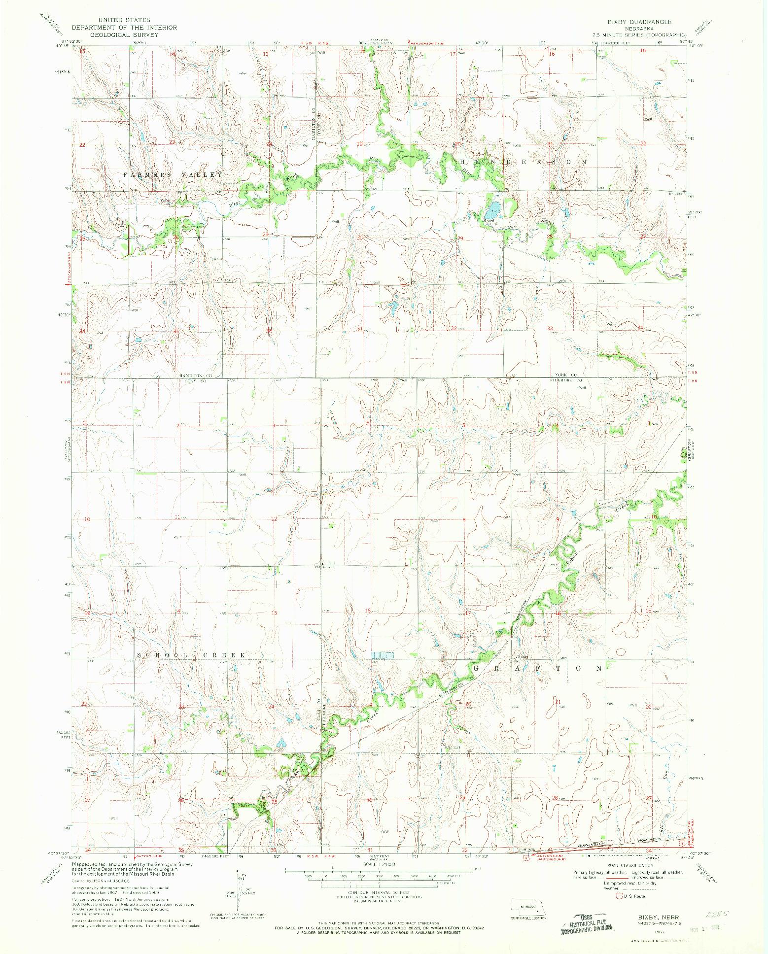 USGS 1:24000-SCALE QUADRANGLE FOR BIXBY, NE 1969