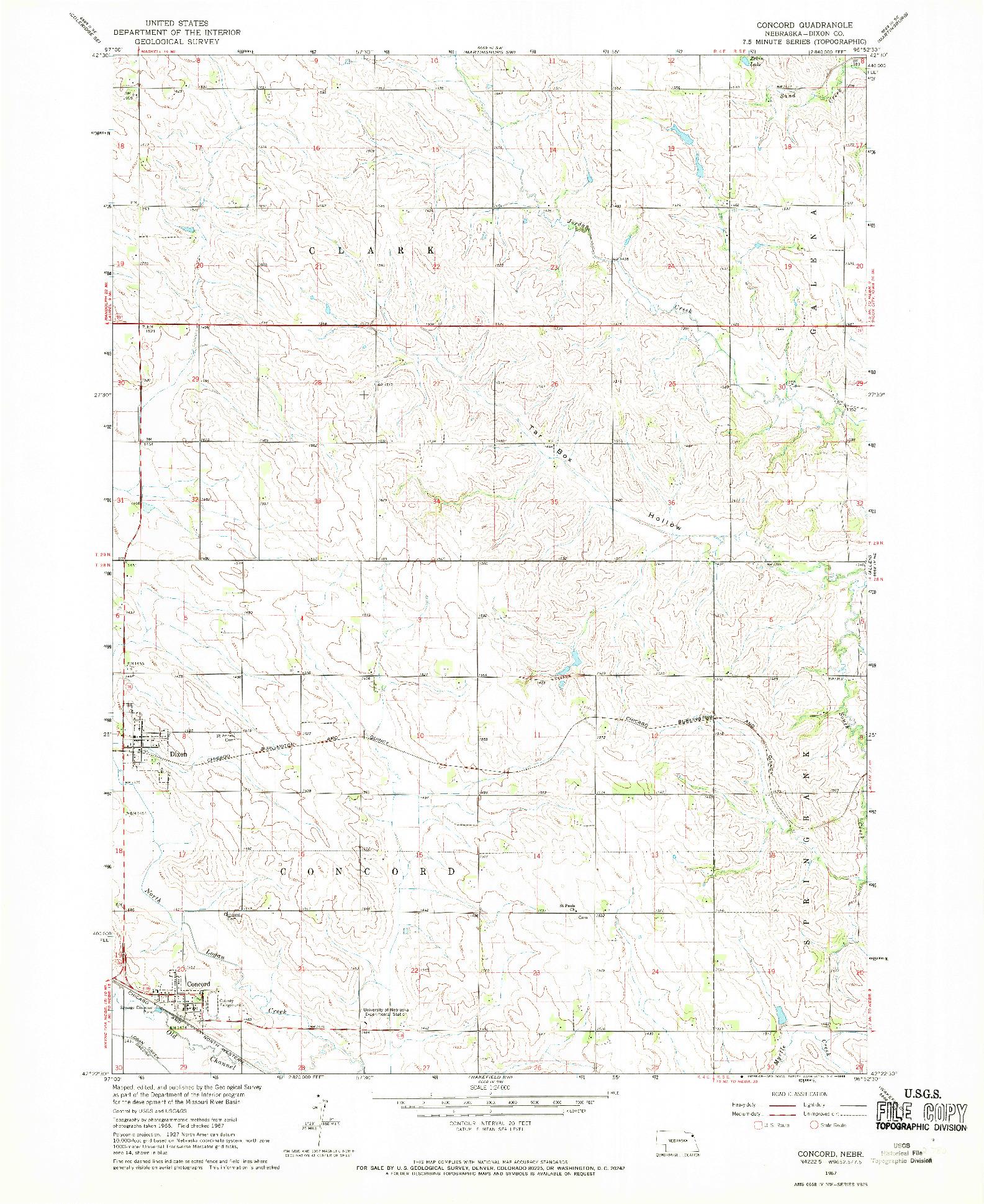 USGS 1:24000-SCALE QUADRANGLE FOR CONCORD, NE 1967