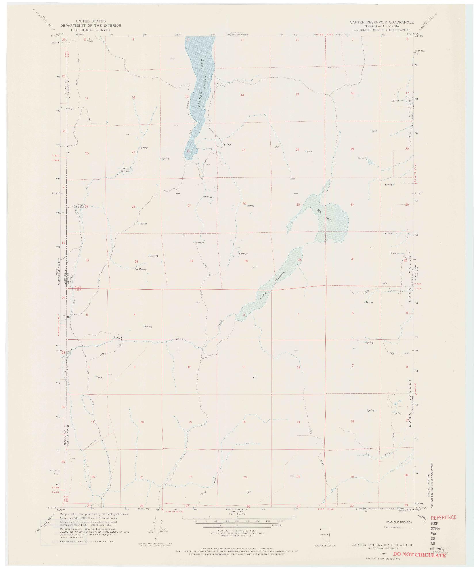 USGS 1:24000-SCALE QUADRANGLE FOR CARTER RESERVOIR, NV 1966