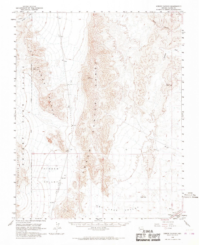 USGS 1:62500-SCALE QUADRANGLE FOR ARROW CANYON, NV 1958