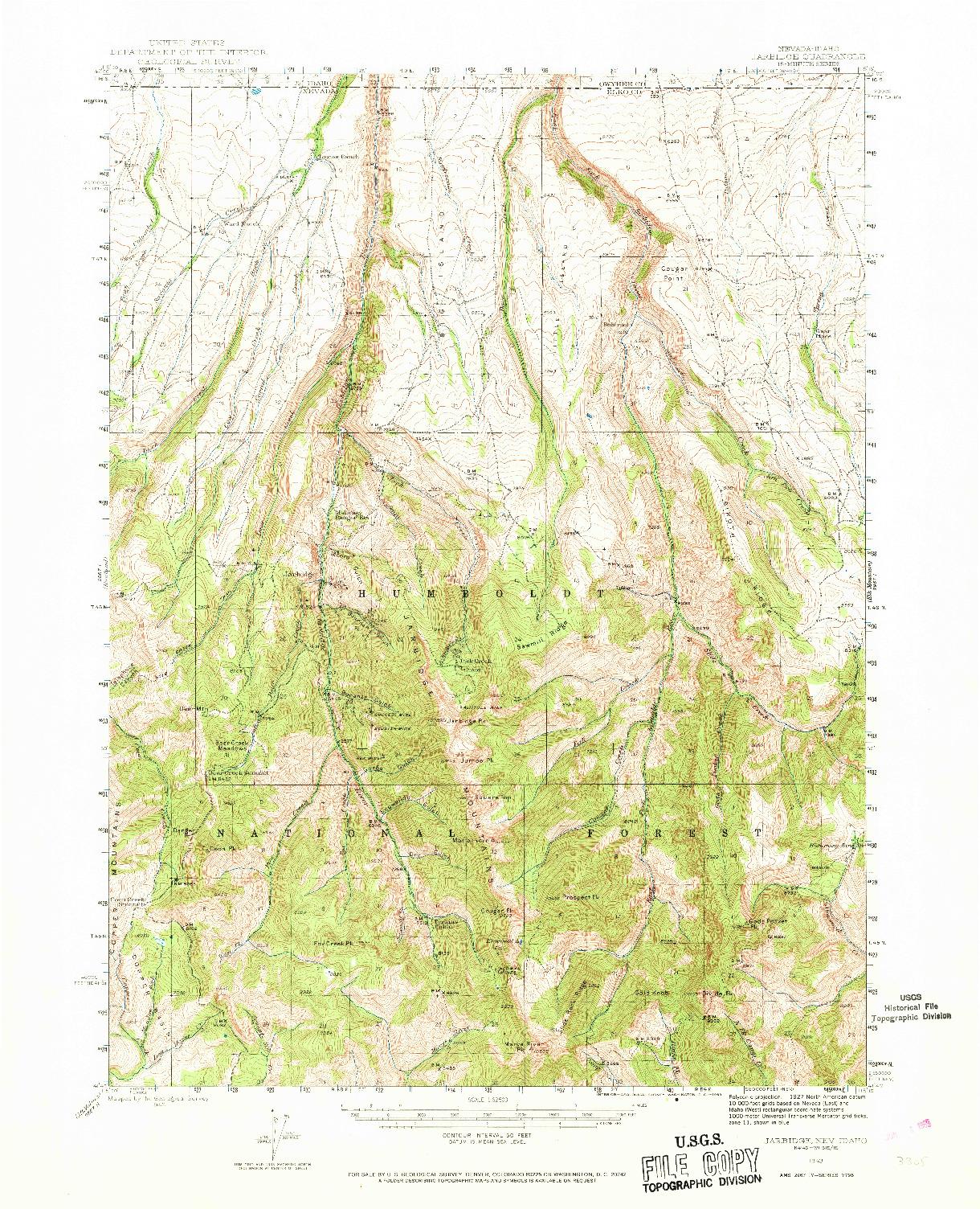 USGS 1:62500-SCALE QUADRANGLE FOR JARBIDGE, NV 1943