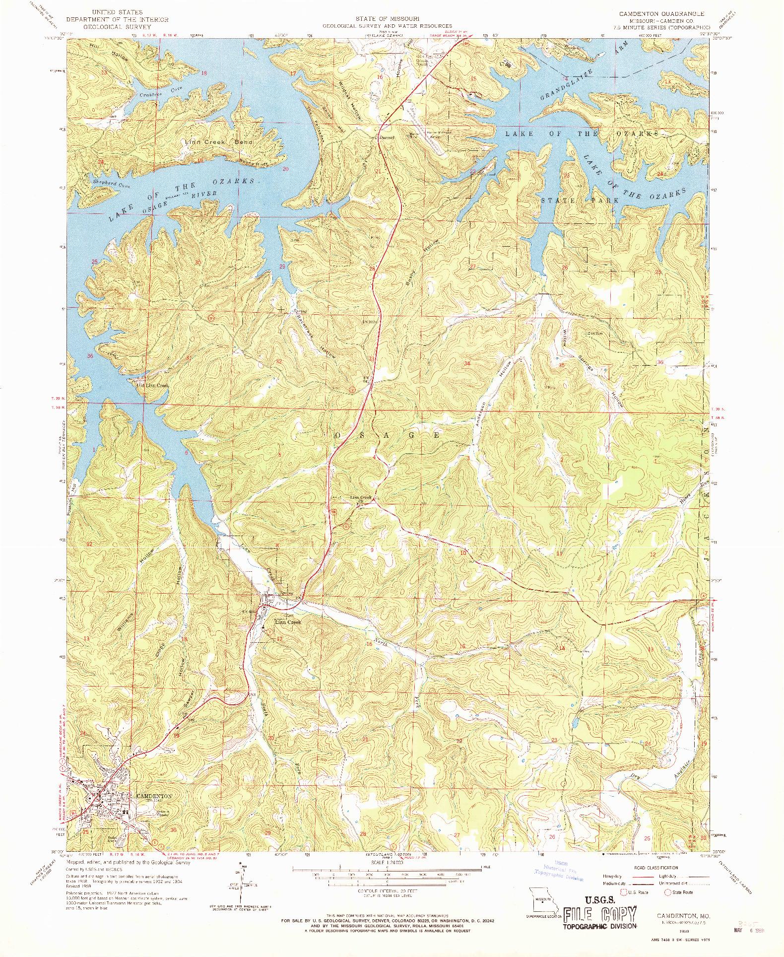 USGS 1:24000-SCALE QUADRANGLE FOR CAMDENTON, MO 1959