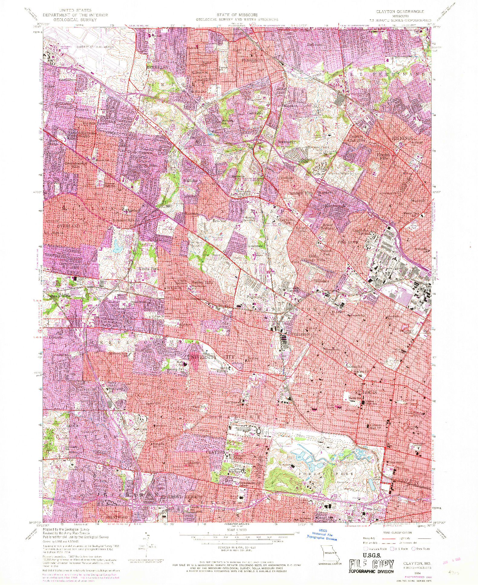 USGS 1:24000-SCALE QUADRANGLE FOR CLAYTON, MO 1954