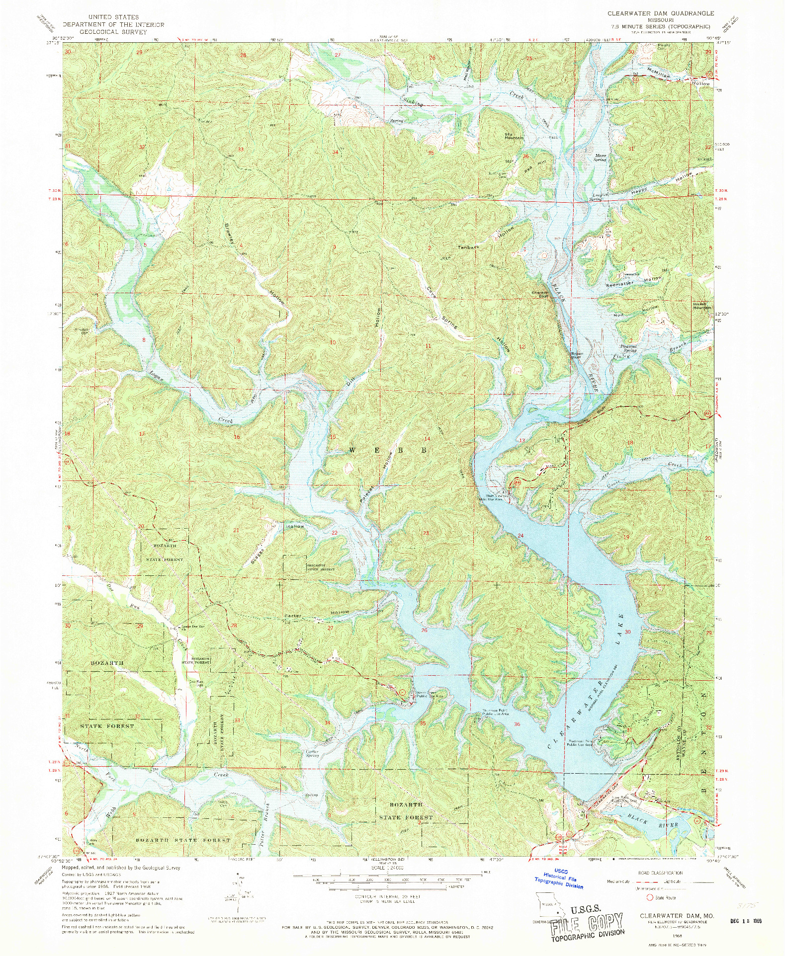USGS 1:24000-SCALE QUADRANGLE FOR CLEARWATER DAM, MO 1968