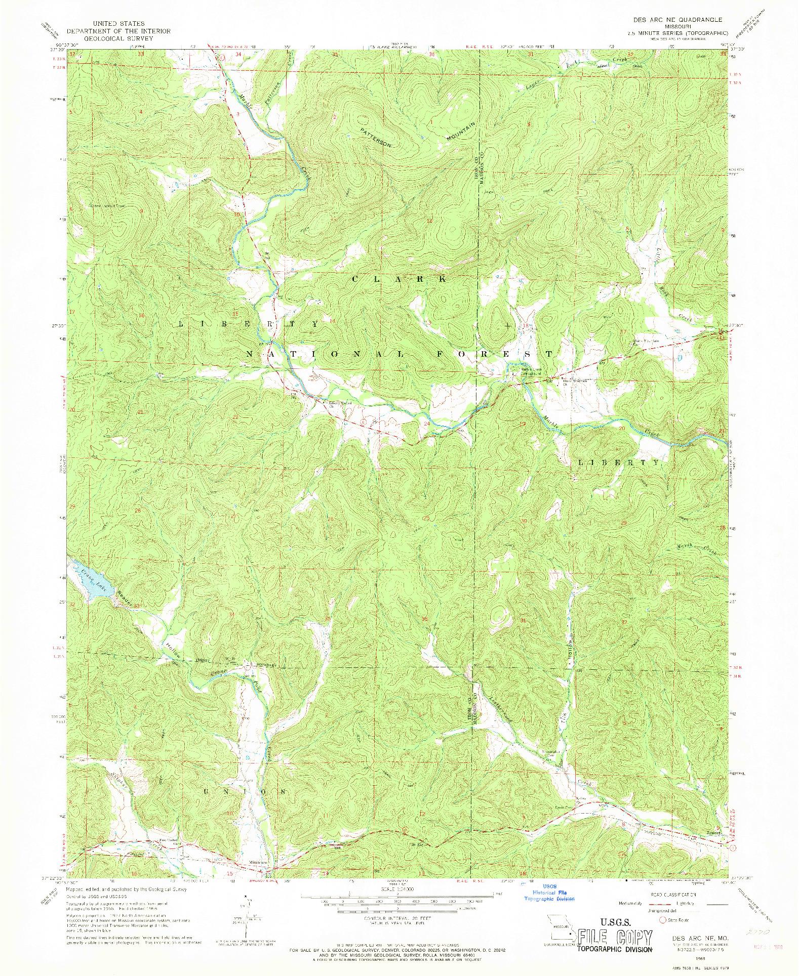 USGS 1:24000-SCALE QUADRANGLE FOR DES ARC NE, MO 1968