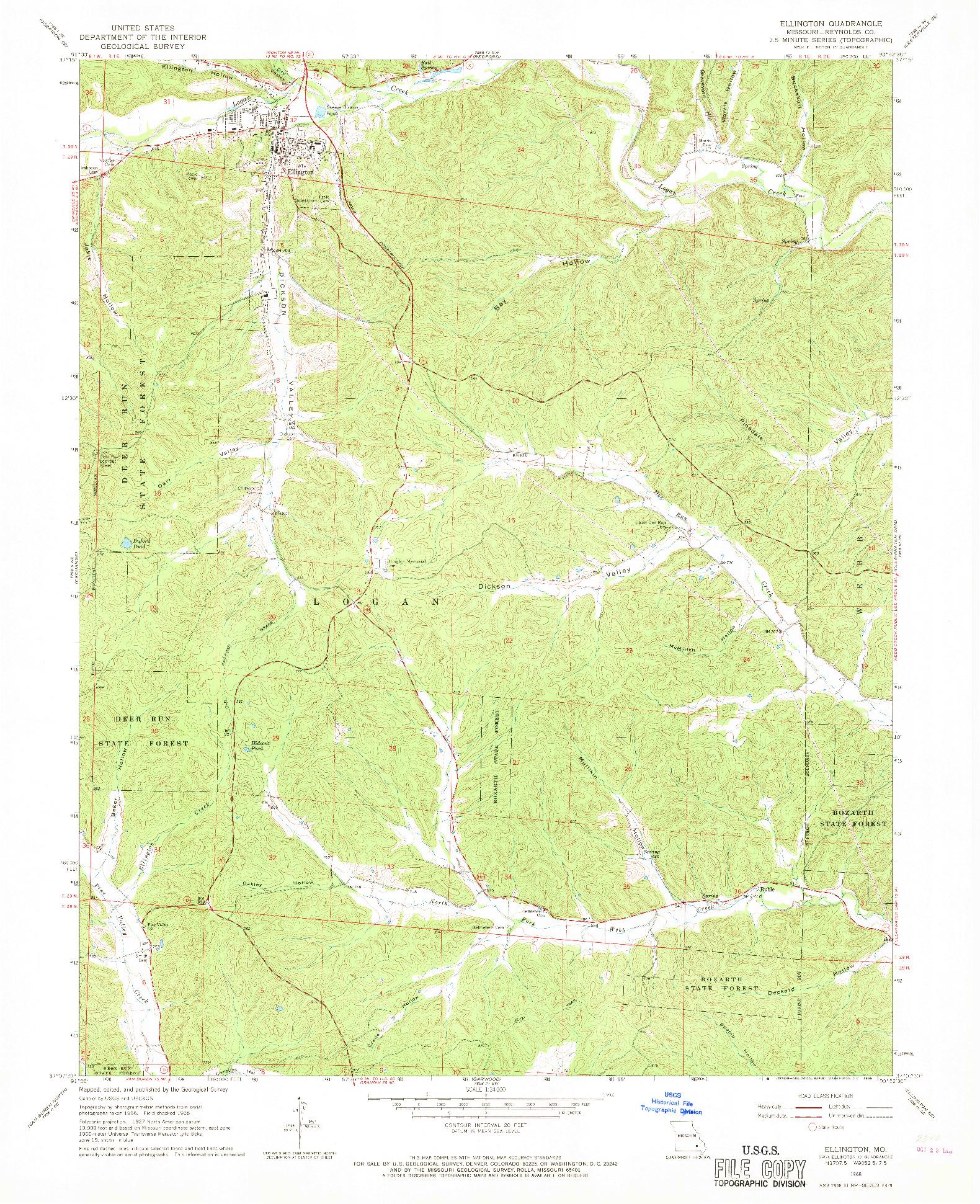 USGS 1:24000-SCALE QUADRANGLE FOR ELLINGTON, MO 1968