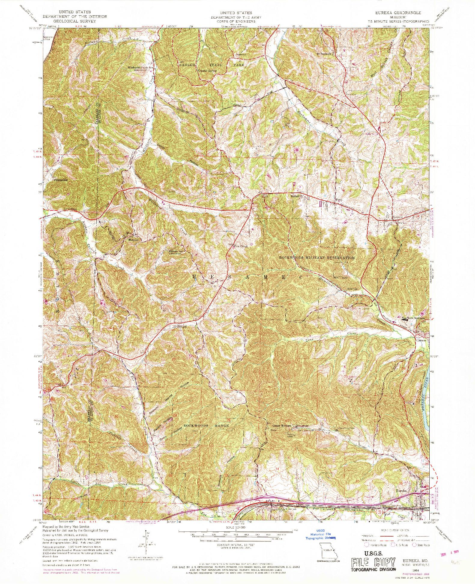 USGS 1:24000-SCALE QUADRANGLE FOR EUREKA, MO 1954