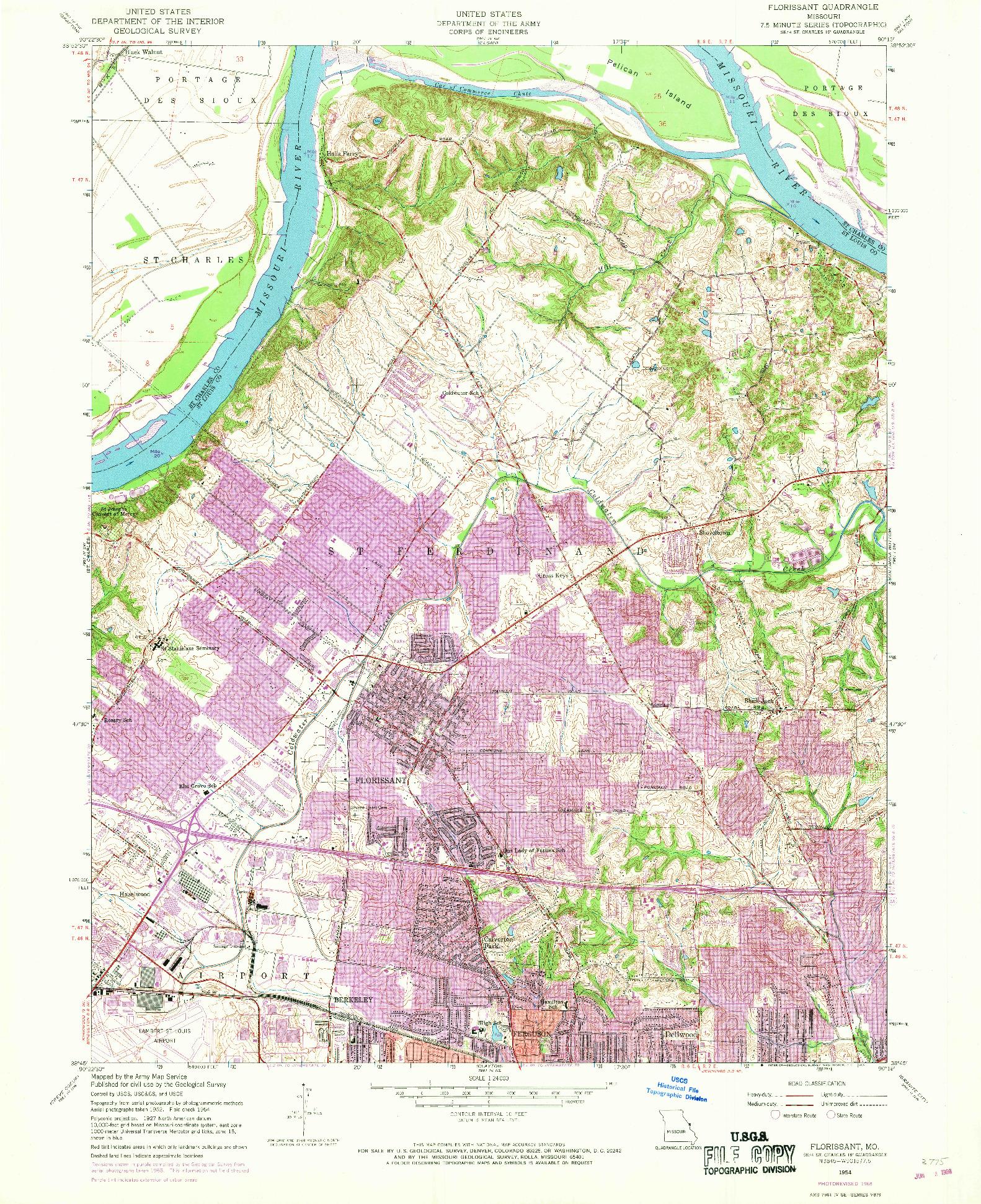 USGS 1:24000-SCALE QUADRANGLE FOR FLORISSANT, MO 1954