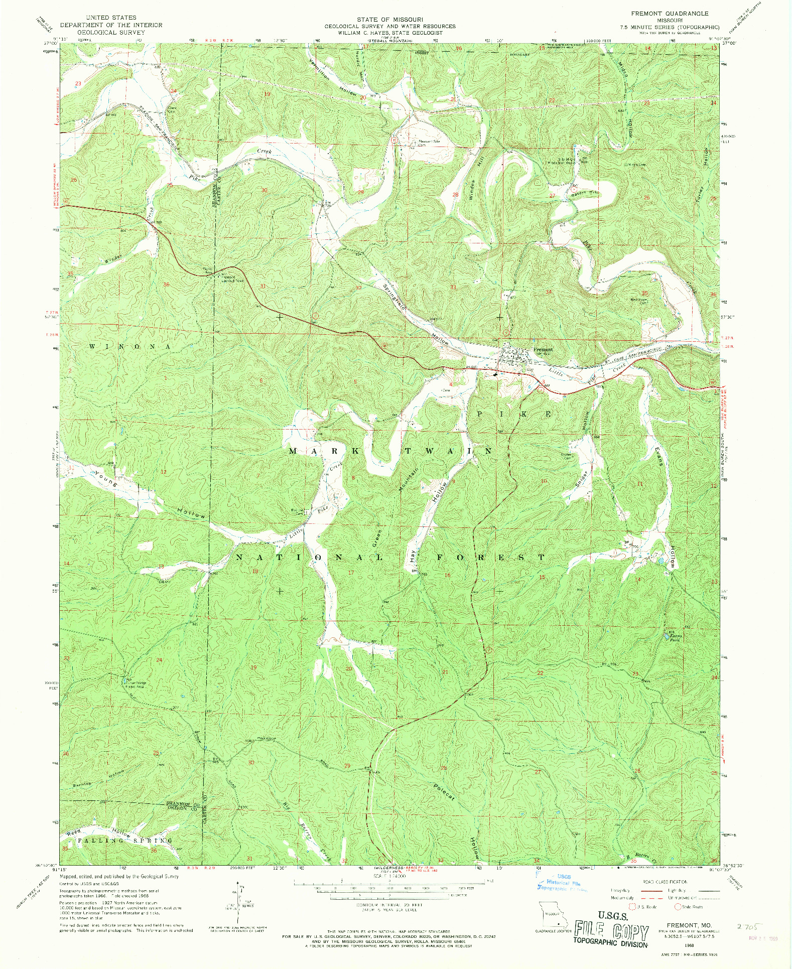USGS 1:24000-SCALE QUADRANGLE FOR FREMONT, MO 1968