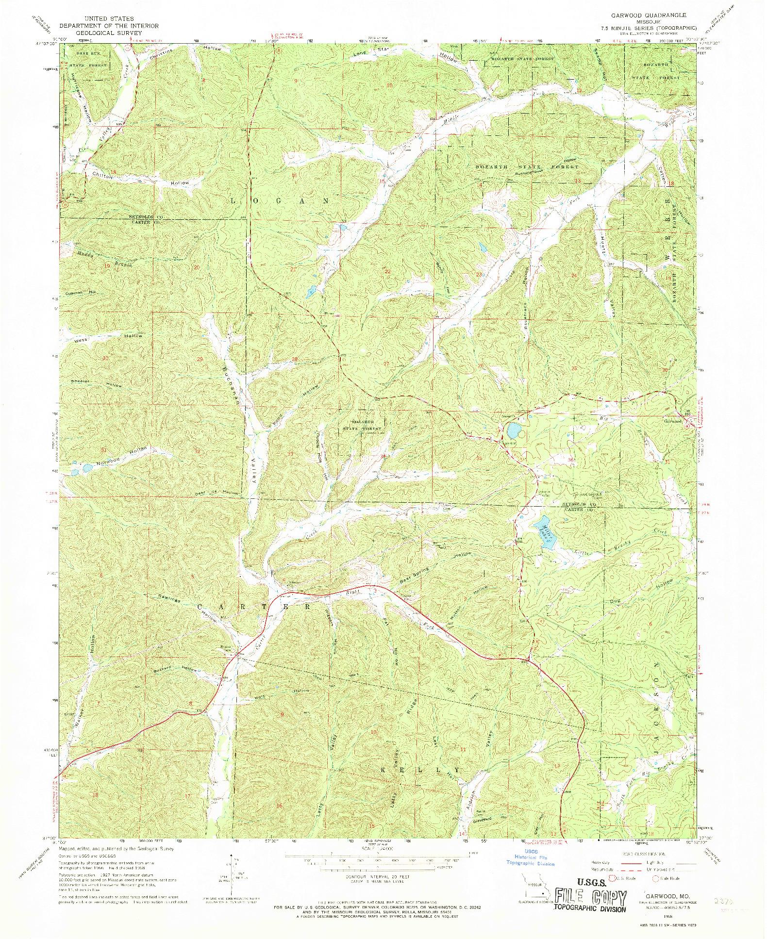 USGS 1:24000-SCALE QUADRANGLE FOR GARWOOD, MO 1968