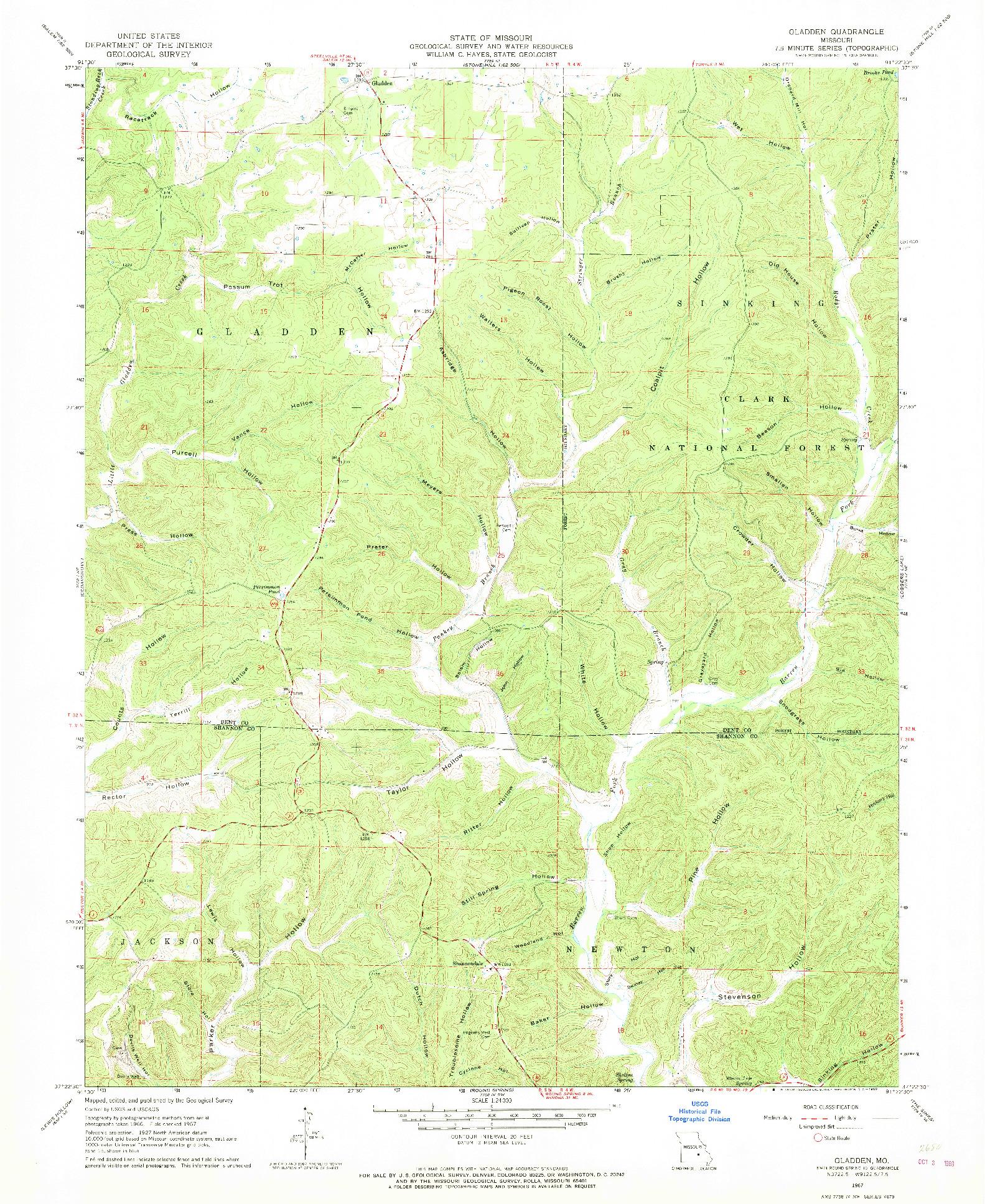 USGS 1:24000-SCALE QUADRANGLE FOR GLADDEN, MO 1967