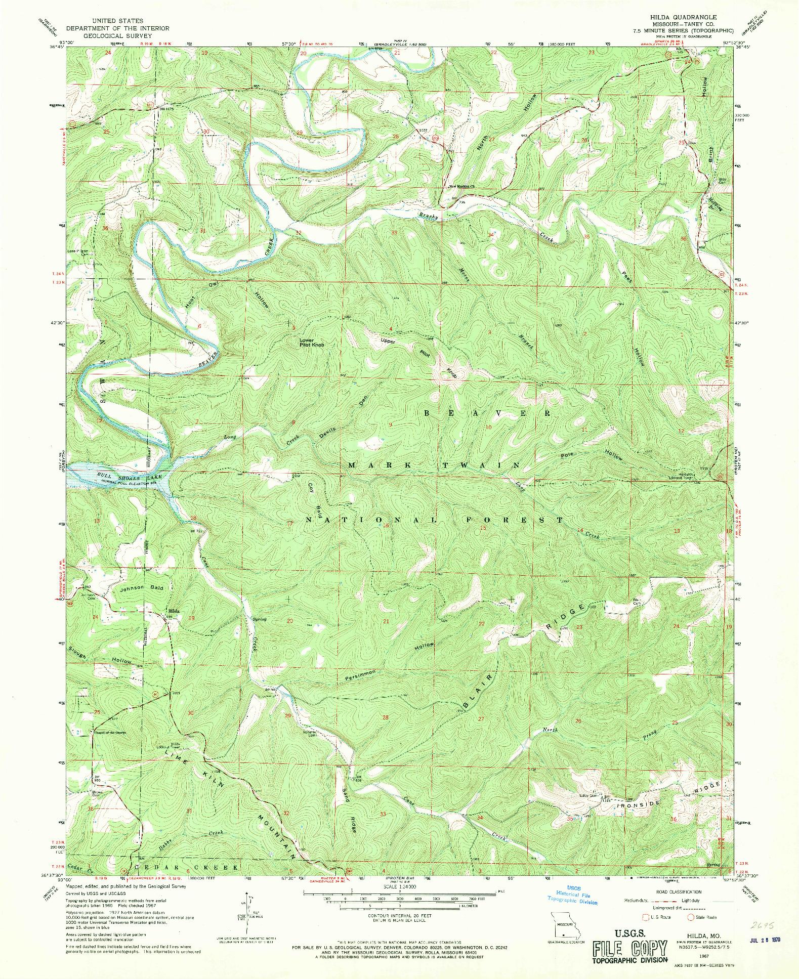 USGS 1:24000-SCALE QUADRANGLE FOR HILDA, MO 1967