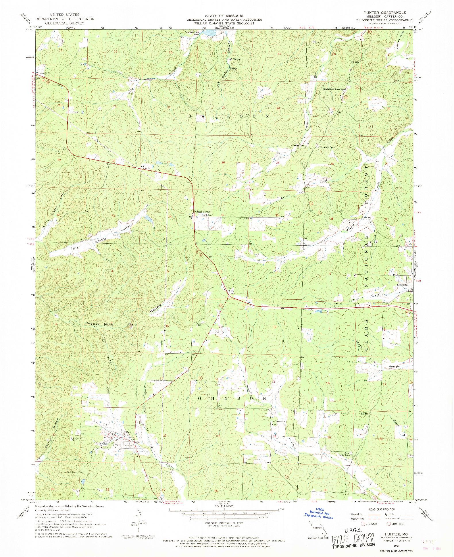 USGS 1:24000-SCALE QUADRANGLE FOR HUNTER, MO 1968