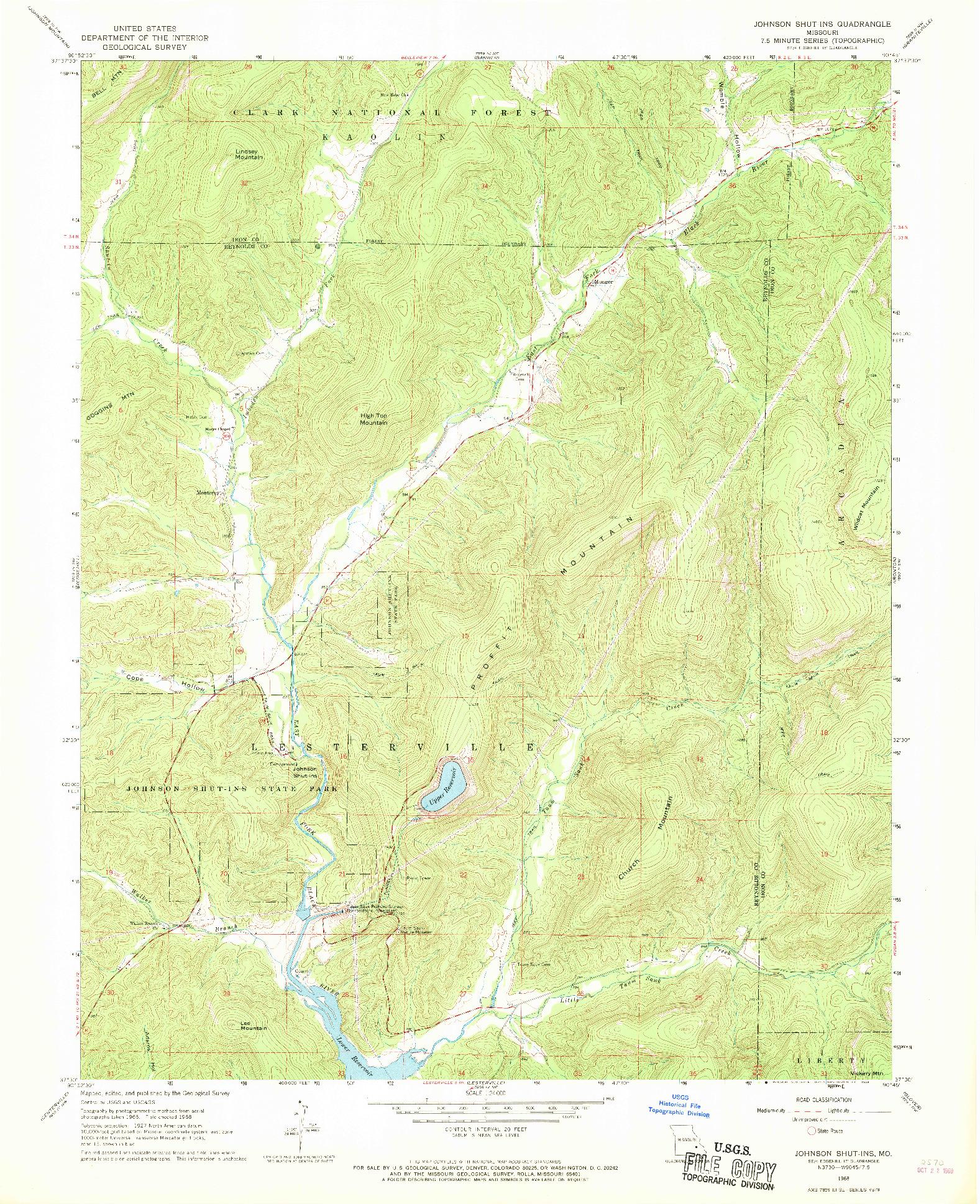 USGS 1:24000-SCALE QUADRANGLE FOR JOHNSON SHUT-INS, MO 1968
