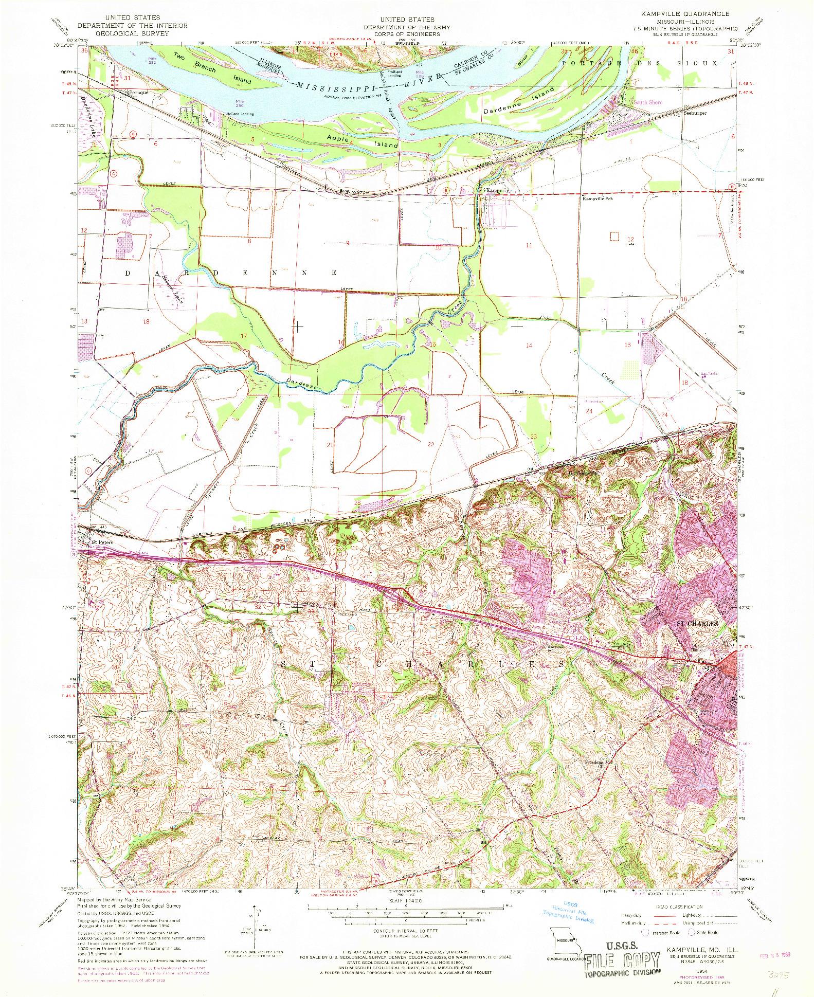 USGS 1:24000-SCALE QUADRANGLE FOR KAMPVILLE, MO 1954
