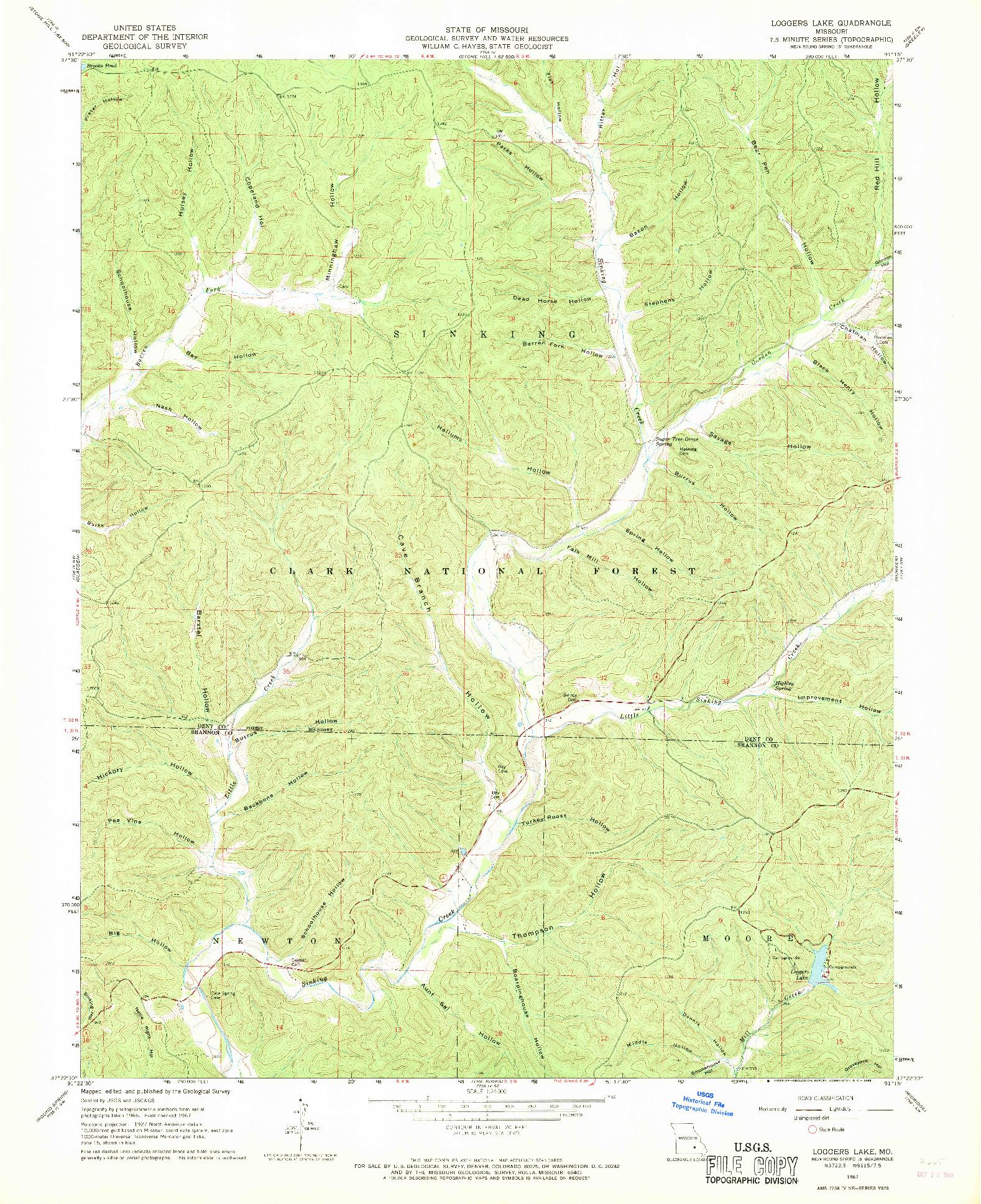 USGS 1:24000-SCALE QUADRANGLE FOR LOGGERS LAKE, MO 1967