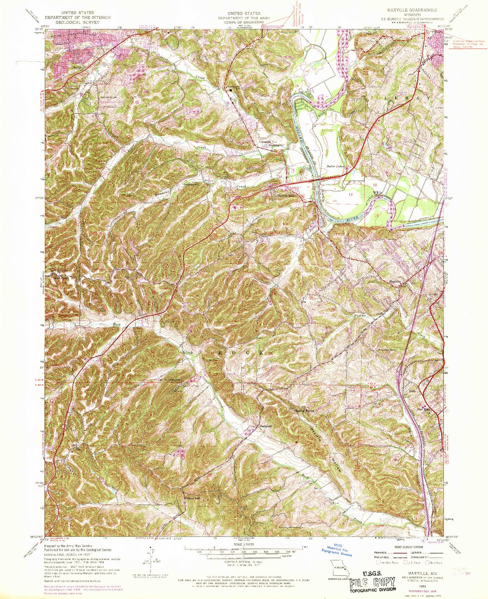 USGS 1:24000-SCALE QUADRANGLE FOR MAXVILLE, MO 1954
